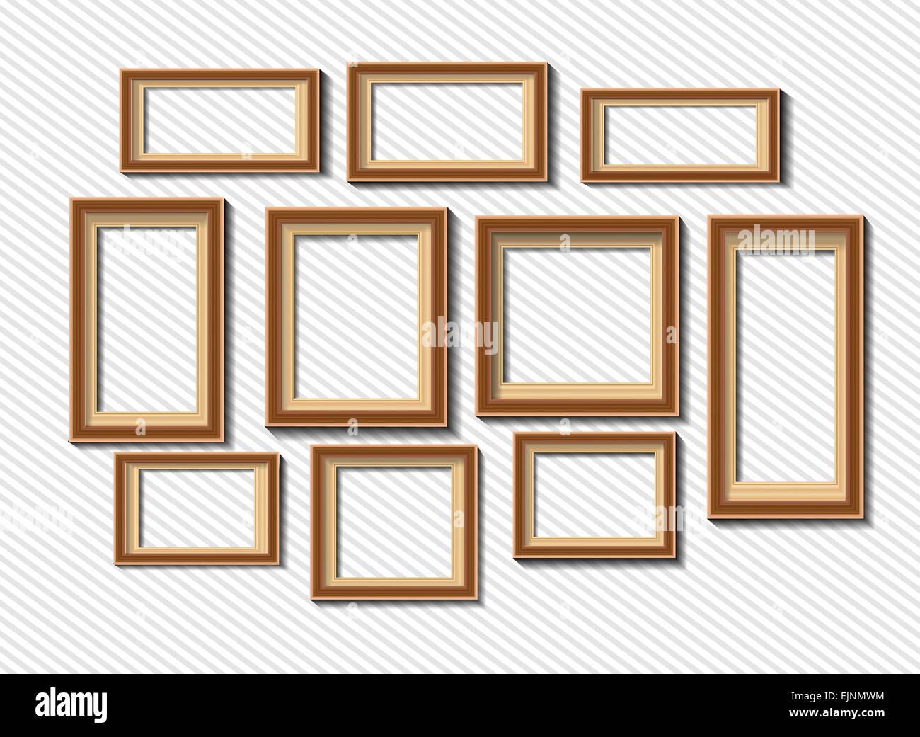 Conjunto de marcos de fotos en blanco sobre fondo gris Foto & Imagen ...