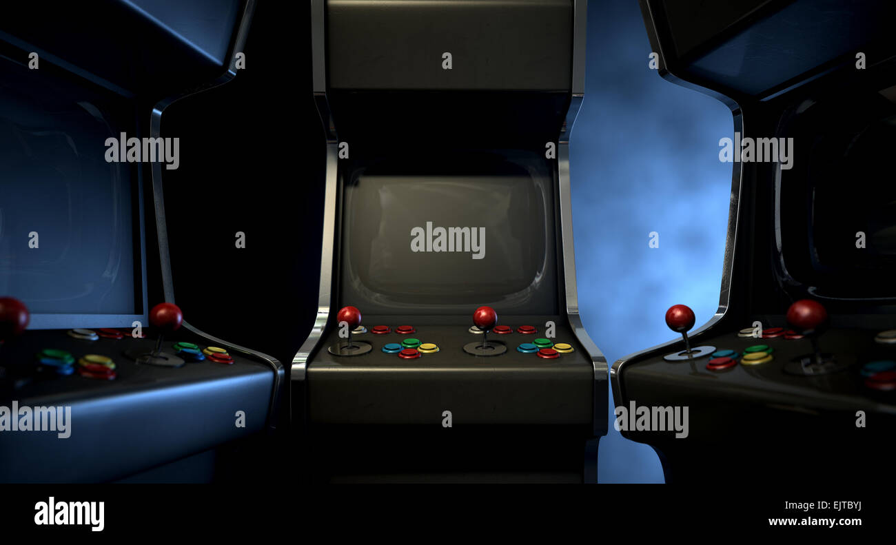 Un Grupo De Antiguos Juegos Arcade Sin Marca Con Un Joystick Y