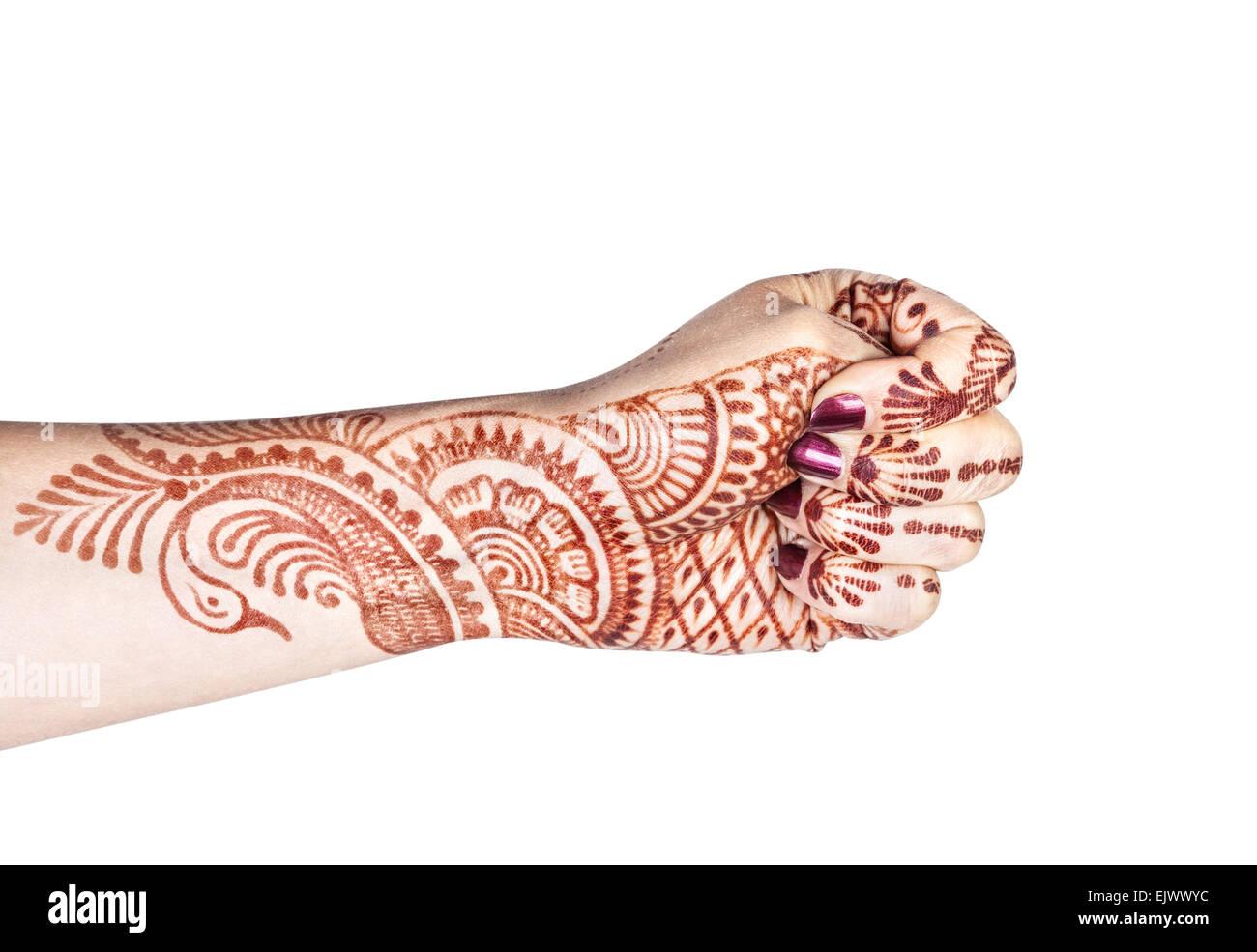 Mujer mano con henna haciendo Adi mudra aislado sobre fondo blanco con trazado de recorte Imagen De Stock