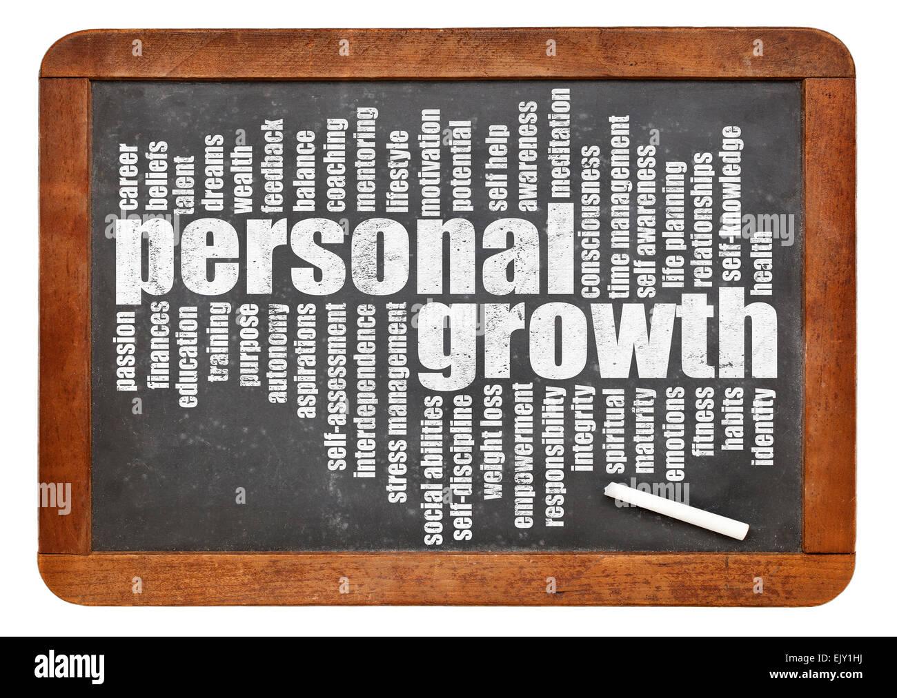 Crecimiento personal palabra nube sobre una pizarra pizarra aislado en blanco Imagen De Stock