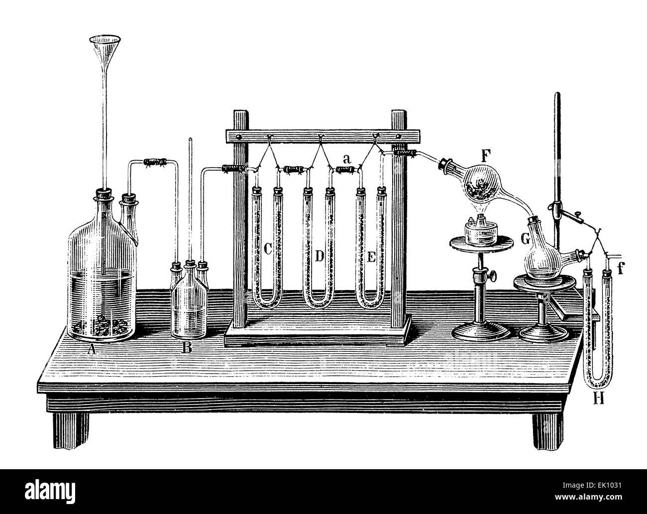 ¿Por qué hacerlo sencillo cuando complicado es más divertido? Este artilugio fue concebida para demostrar la composición química exacta de agua. En las dos botellas a la izquierda el hidrógeno es producido por la oxidación de bits de zinc en la parte inferior de una botella; ninguna mención del frasco B o su función en el texto (decoración? Filtro?); los tres tubos en forma de U y filtrada exiccated el hidrógeno que luego se ejecuta a través de óxido de cobre caliente en el globo F, y el agua resultante se recogió en el matraz G. El último U-pipe recogerá cualquier posible escapó de vapor de agua. Foto de stock