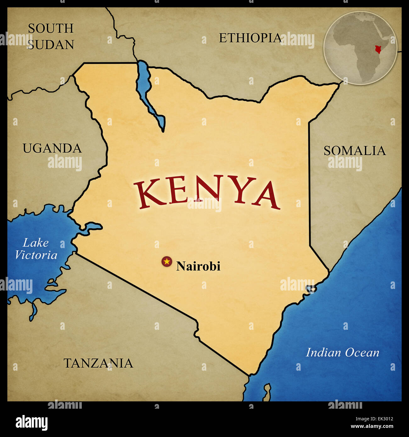 Mapa De Kenia Y Los Paises Limitrofes Con La Capital Nairobi