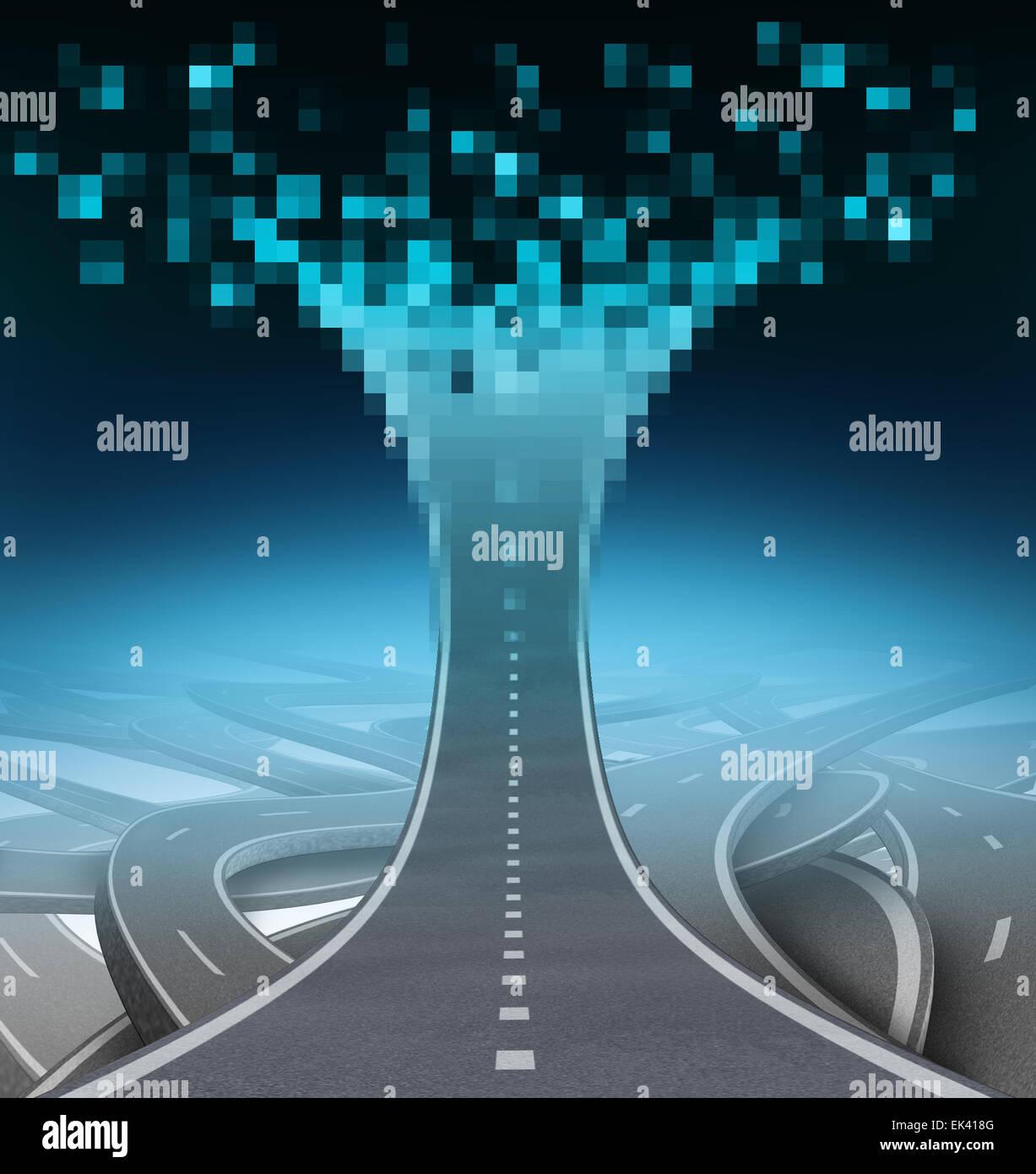 Autopista digital y tecnología el concepto de comunicación como un camino o Street yendo hacia arriba Imagen De Stock