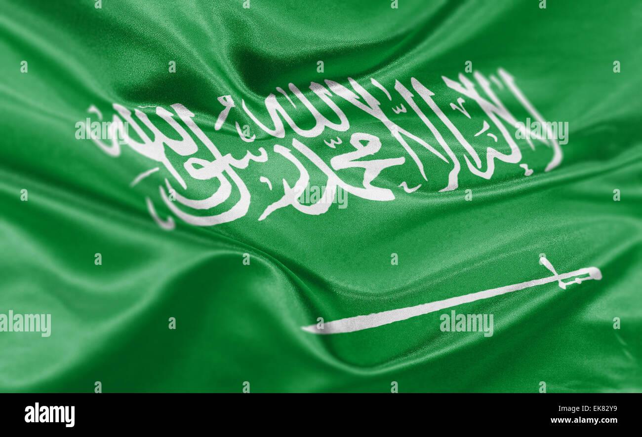 Procesamiento de alta resolución de la bandera nacional de Arabia Saudita. Imagen De Stock