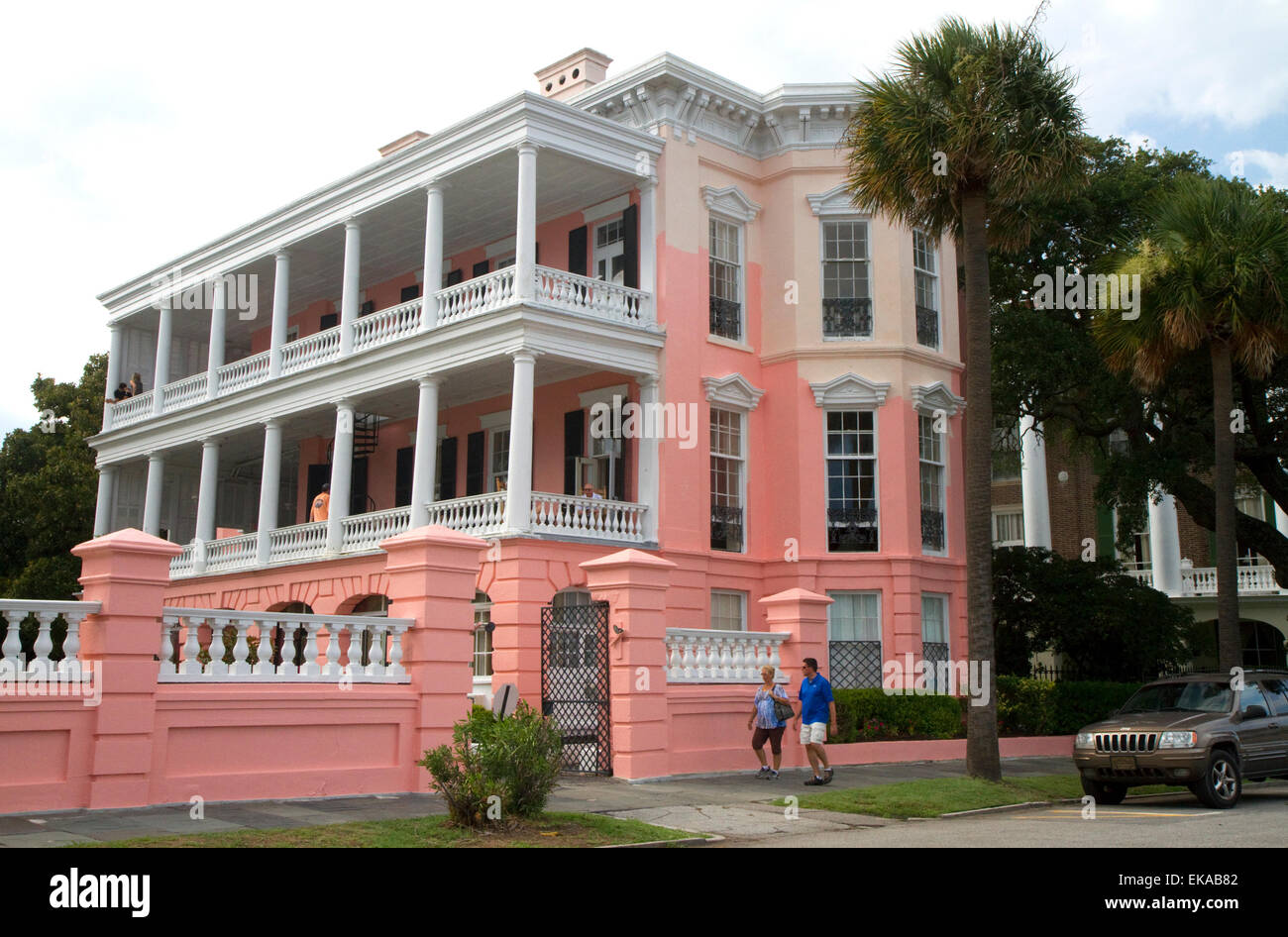 Mansión Antebellum en Charleston, Carolina del Sur, EE.UU.. Imagen De Stock