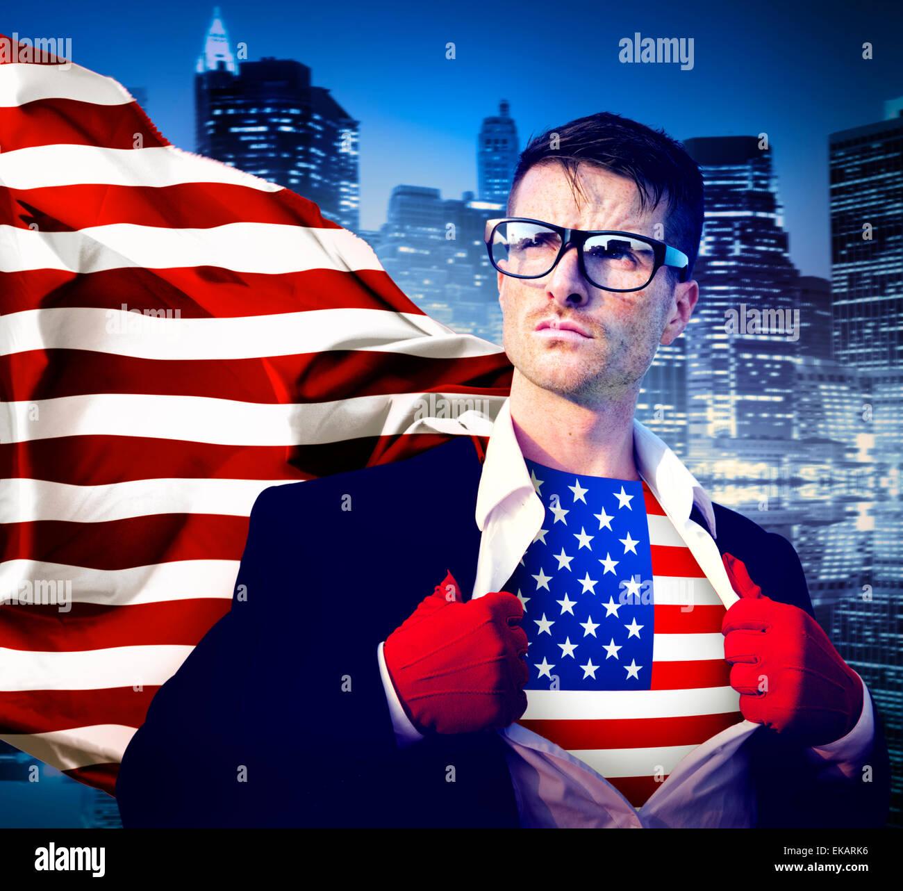 Superhéroe empresario el patriotismo de la bandera americana Bandera Nacional Concepto Imagen De Stock