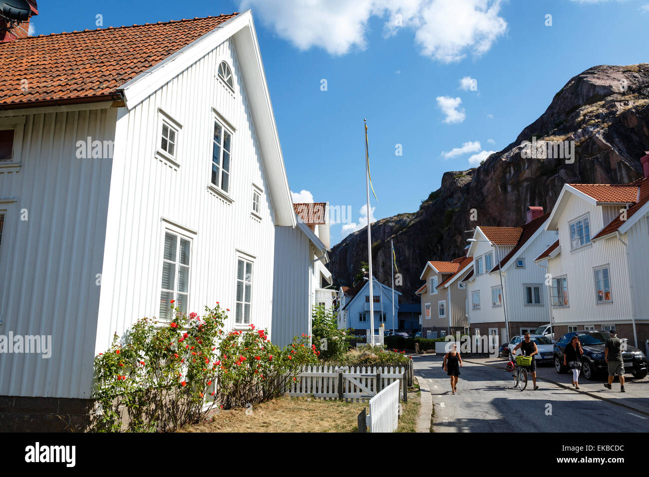 Casas en Bohuslan Fjallbacka, región, costa oeste, Suecia, Escandinavia, Europa Foto de stock