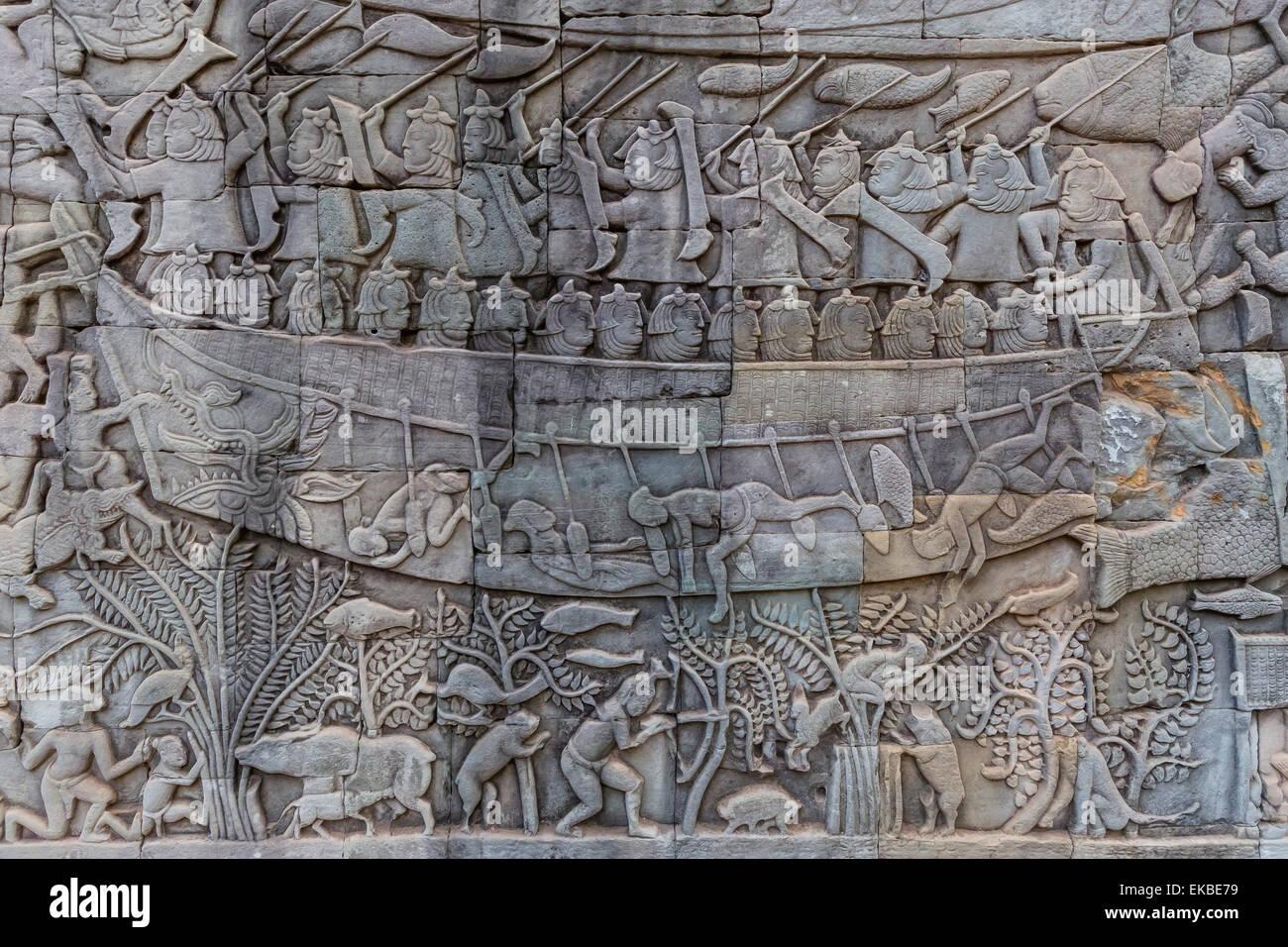 Bajorrelieve tallas de Prasat Bayon, Angkor Thom, Angkor, UNESCO, Siem Reap, Camboya, en Indochina, en el sudeste Imagen De Stock