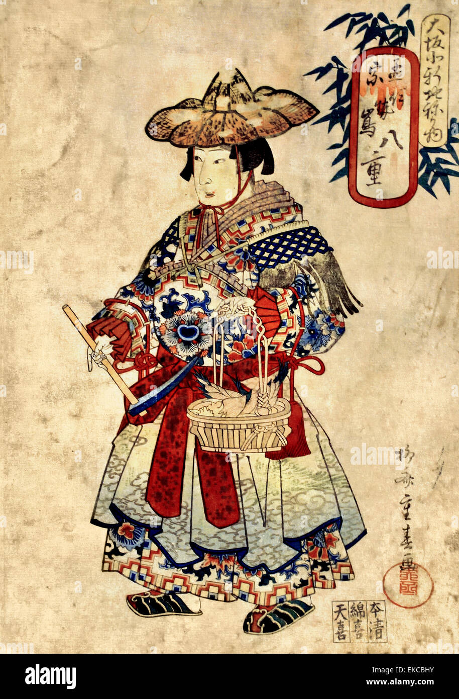 La niña desde 1834 Ryūsai Kotoma Akahiya Shigeharu (1802-1853) fue un japonés con sede en Osaka de xilografía Imagen De Stock