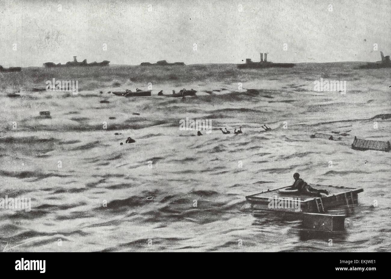 En este caso, los alemanes no tuvieron éxito en naufragio sin dejar rastro - British destructores son prisas para Foto de stock