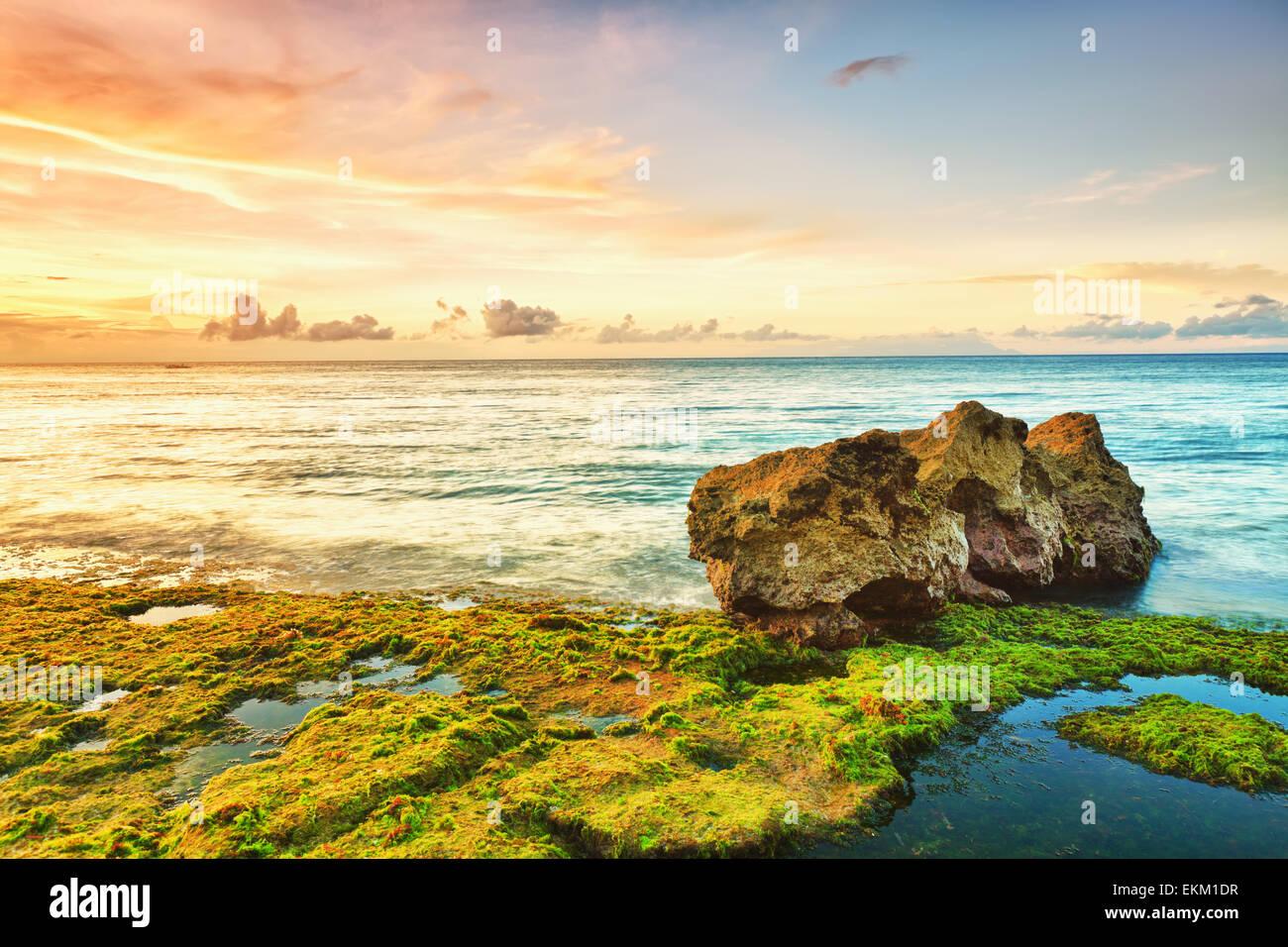 Hermoso paisaje costero. Piedra en primer plano. Filipinas Foto de stock
