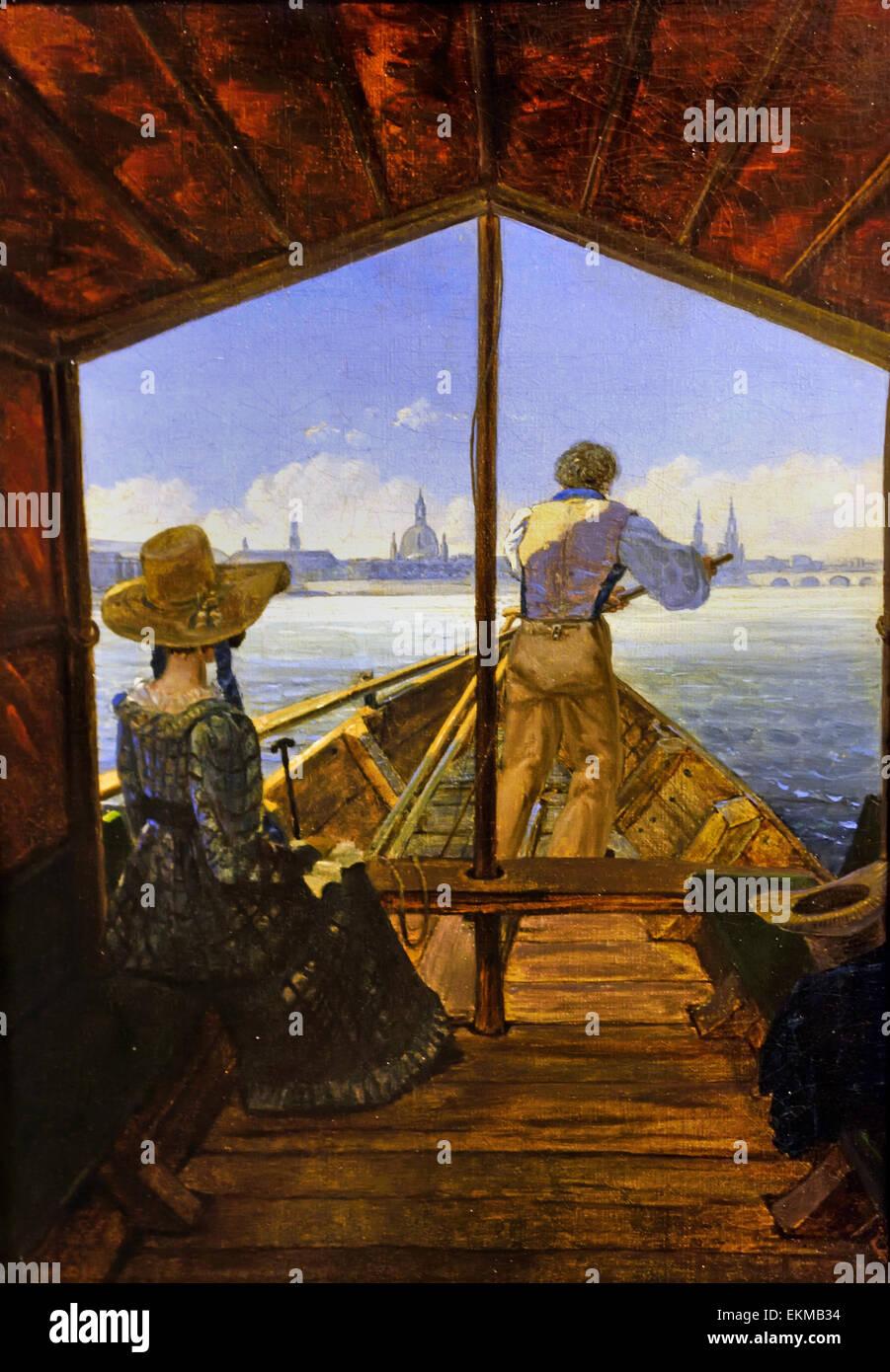 Viaje en barcazas sobre el río Elba cerca de Dresde (Mañana en el Elba 1827 Carl Gustav Carus (1789 - Imagen De Stock