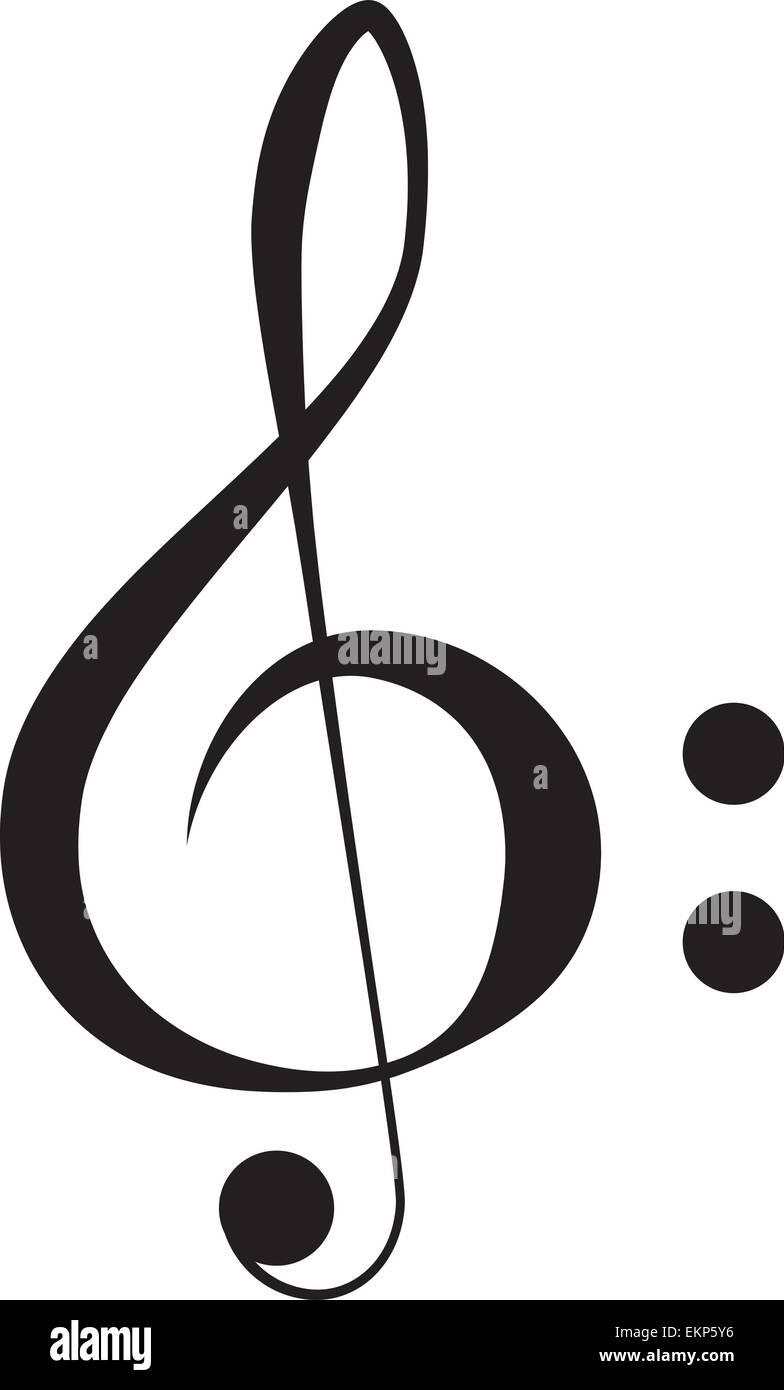 Imagen vectorial, clef agudo aislado sobre fondo blanco. Ilustración del Vector