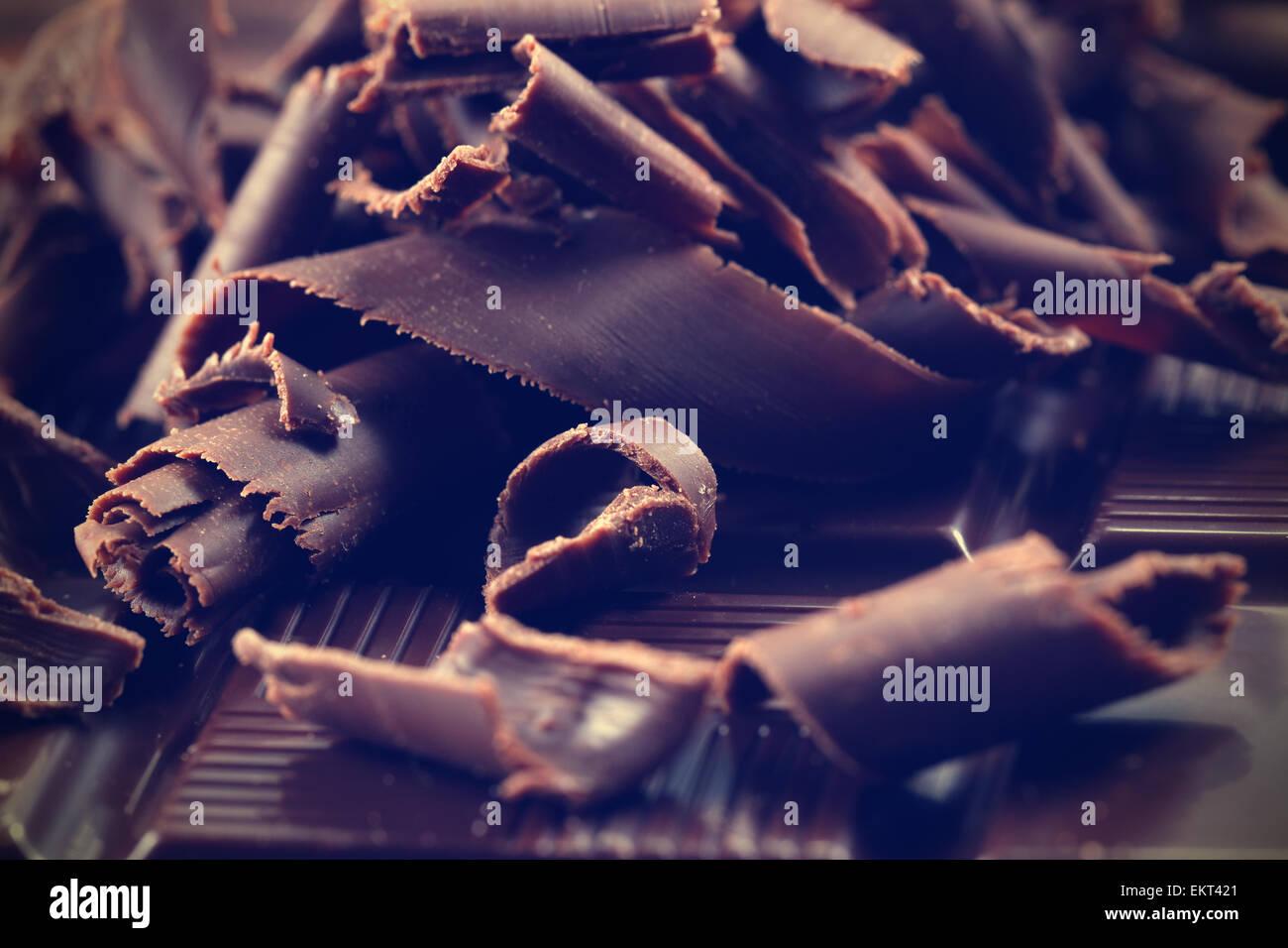 Virutas de Chocolate Oscuro Imagen De Stock
