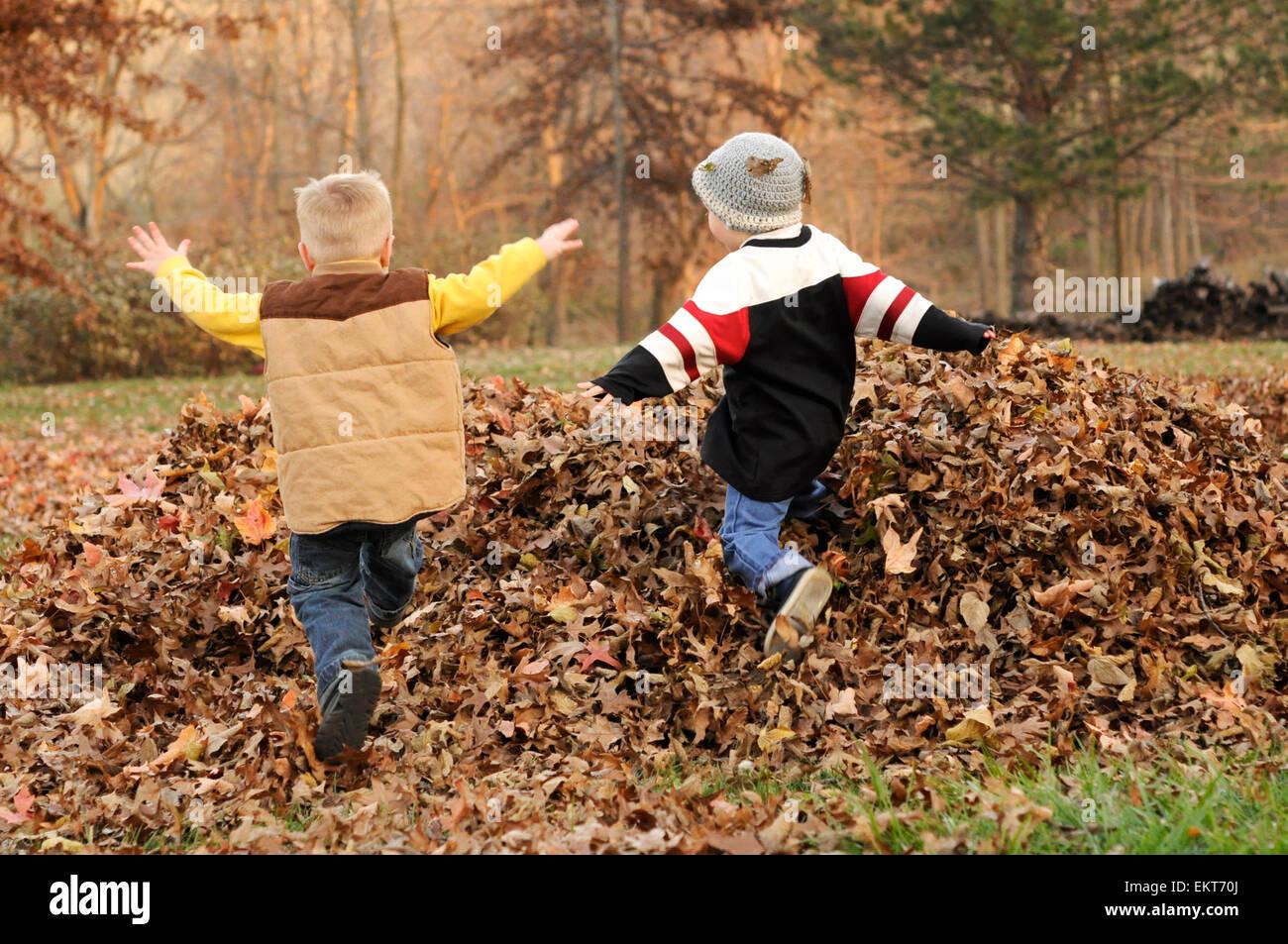 Dos muchachos saltar en la caída de la hoja montón Foto de stock