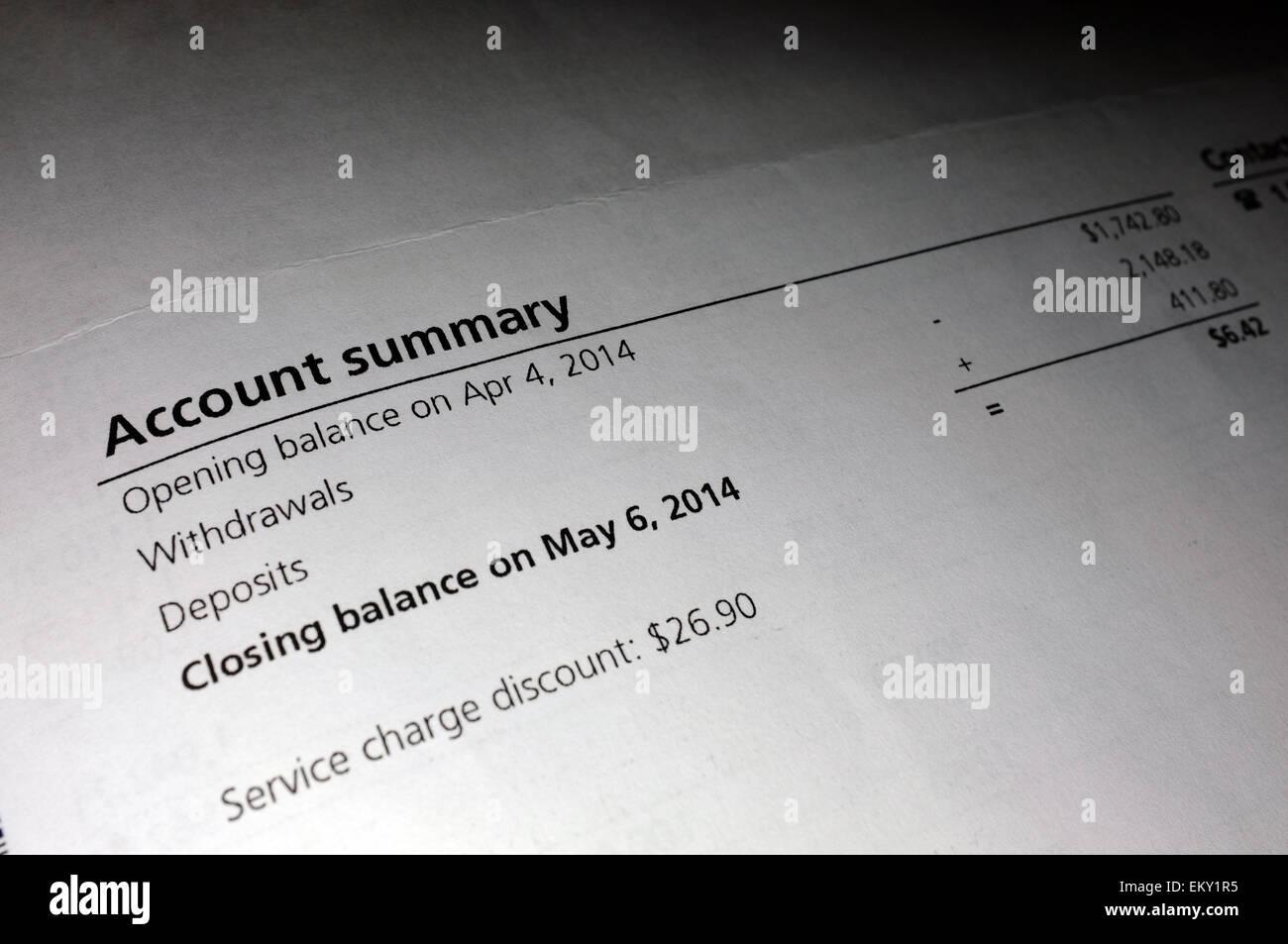 Papeleo mostrando un resumen de cuenta. Imagen De Stock