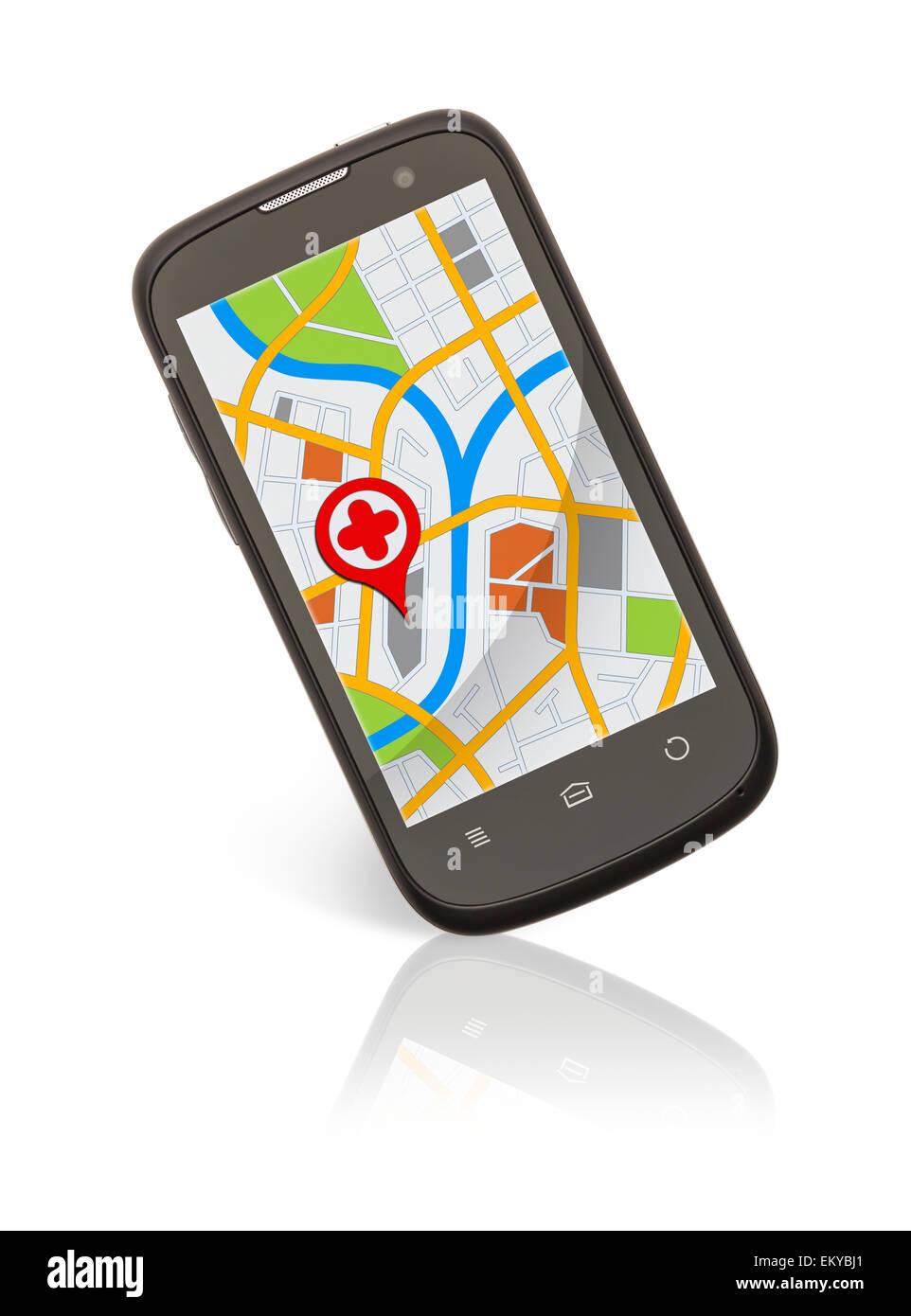 Teléfono inteligente con mapa de ubicación aislado sobre fondo blanco. Foto de stock