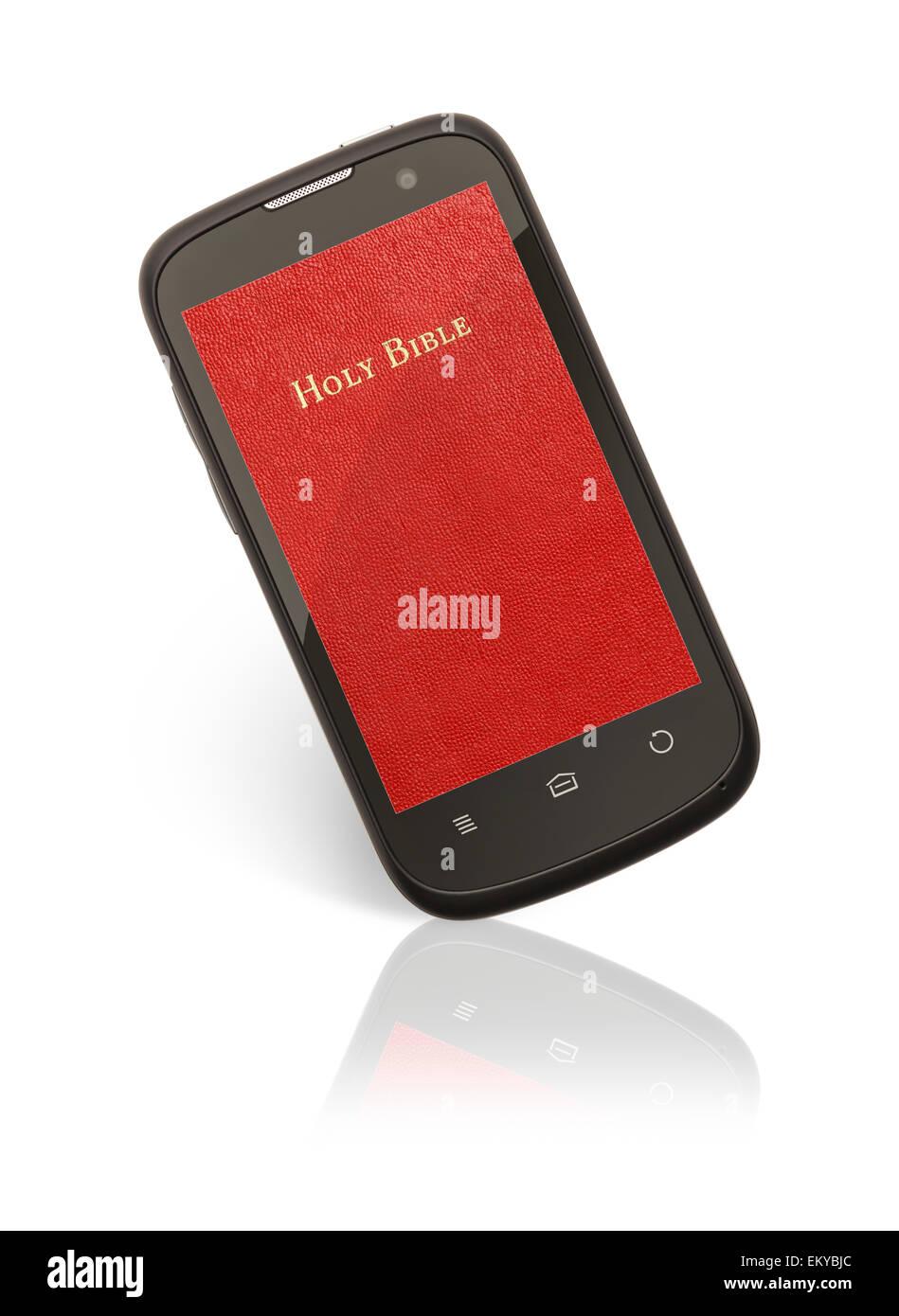 Rojo Santa Biblia App del teléfono inteligente aislado sobre fondo blanco. Imagen De Stock
