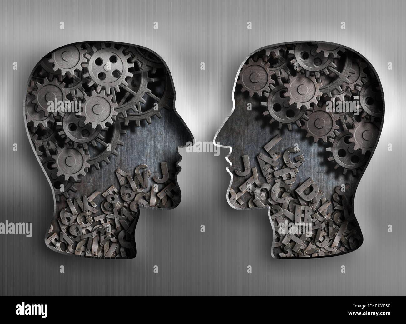 Concepto de comunicación, diálogo, intercambio de información y conocimiento Foto de stock