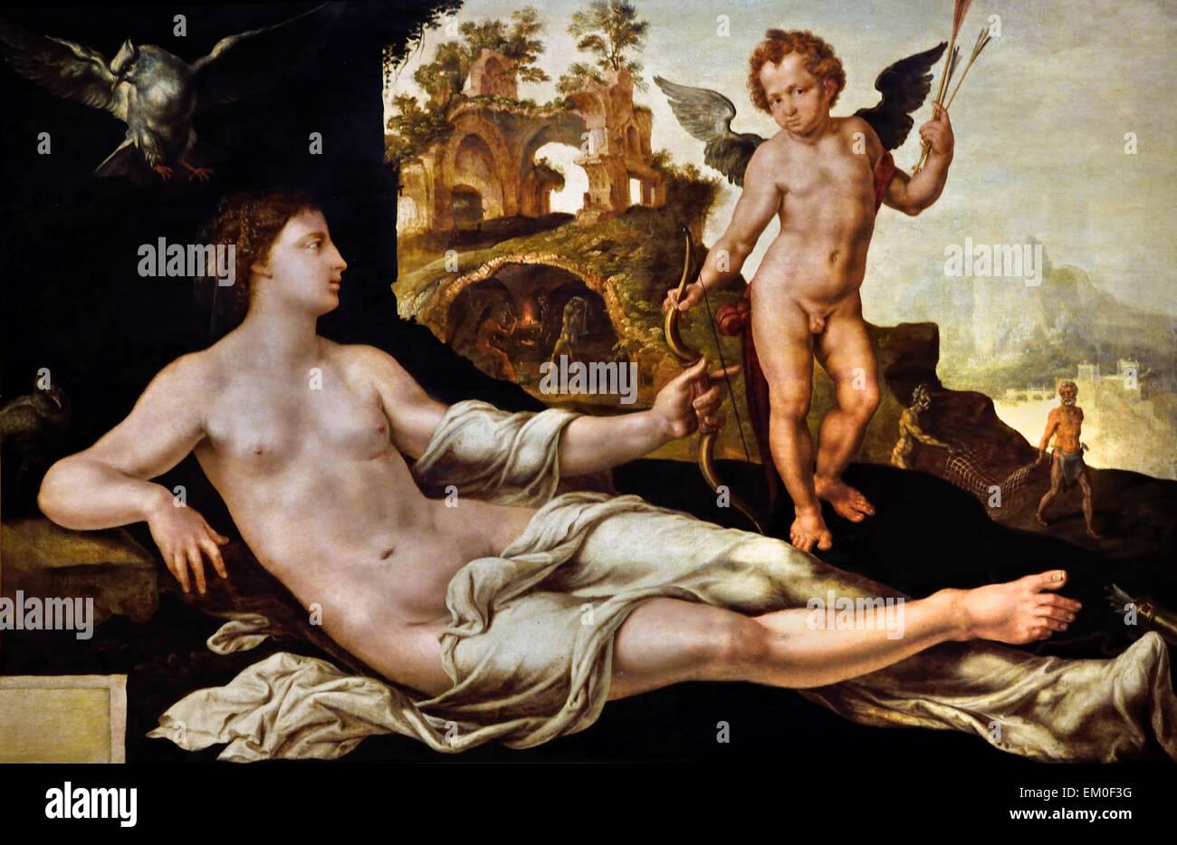 Maerten van Heemskerck Heemskerck (1498 - 1574 ) de Haarlem Venus y Amor 1545 Holanda Holandesa Imagen De Stock