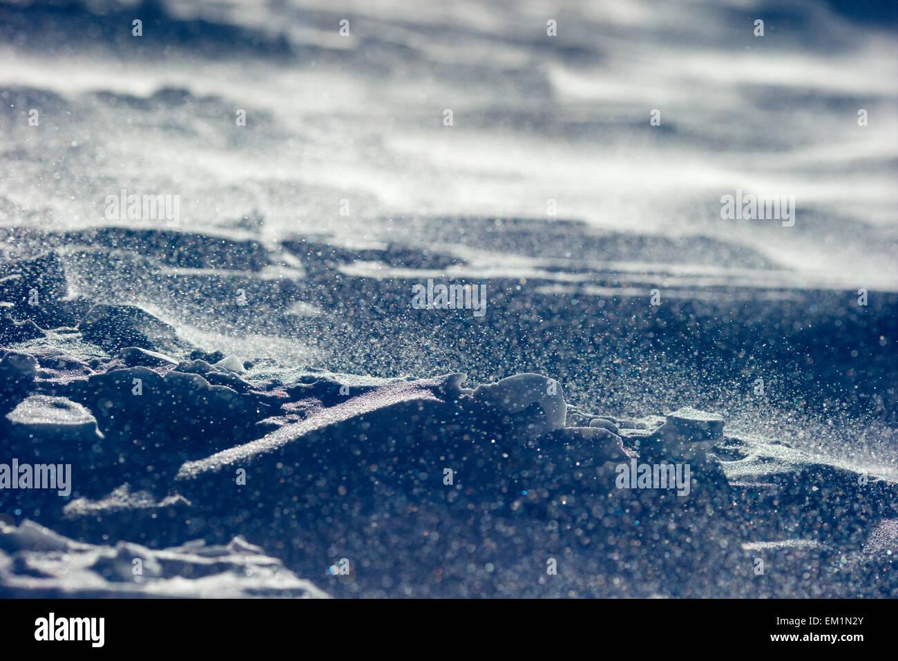 Blizzard, de cerca los copos de nieve y viento Foto de stock
