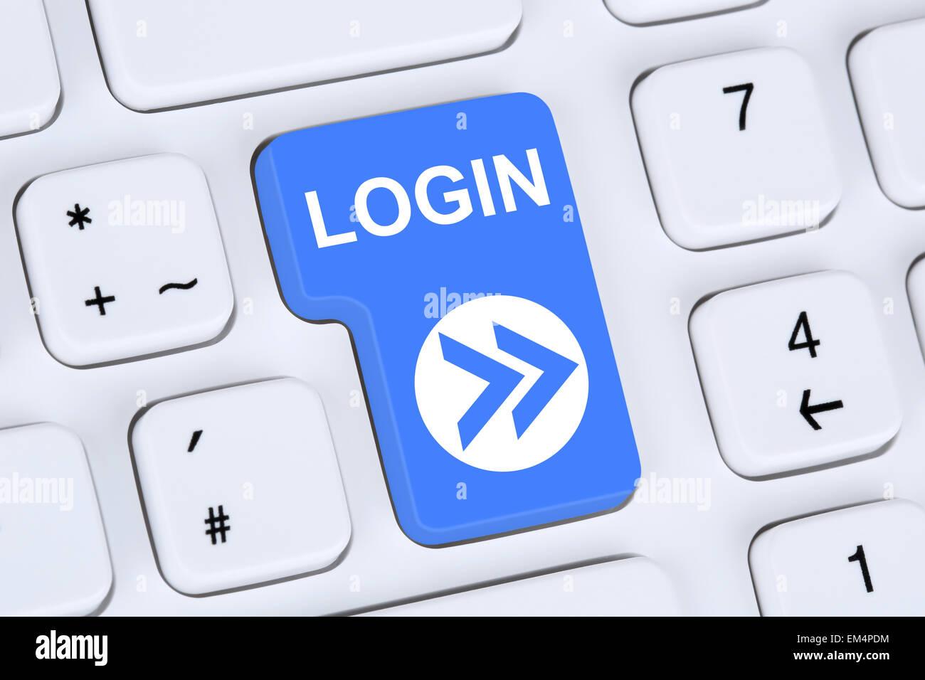 Botón Submit Login con contraseña en el equipo Imagen De Stock