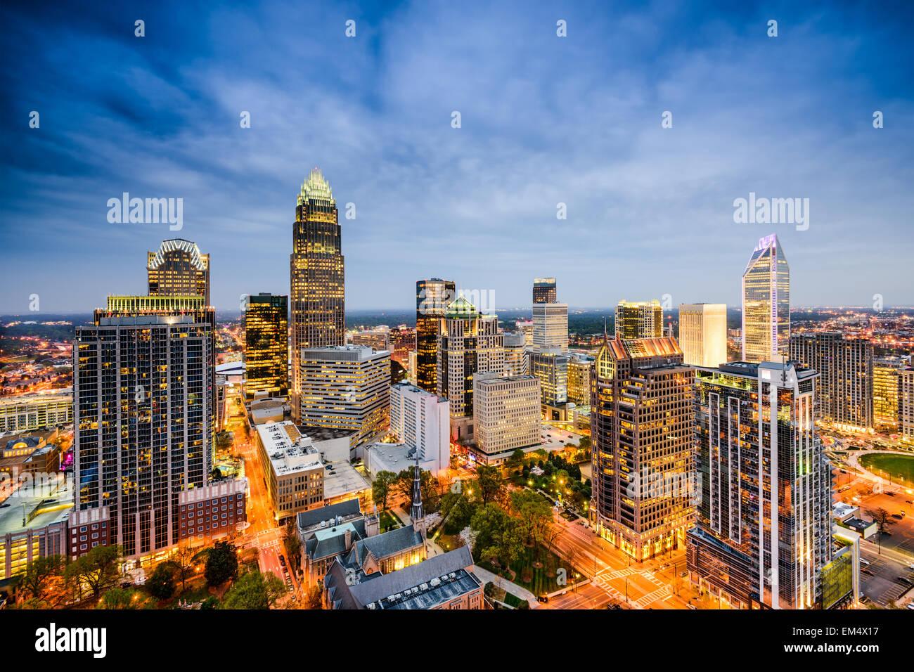Charlotte, Carolina del Norte, EE.UU uptown skyline. Imagen De Stock