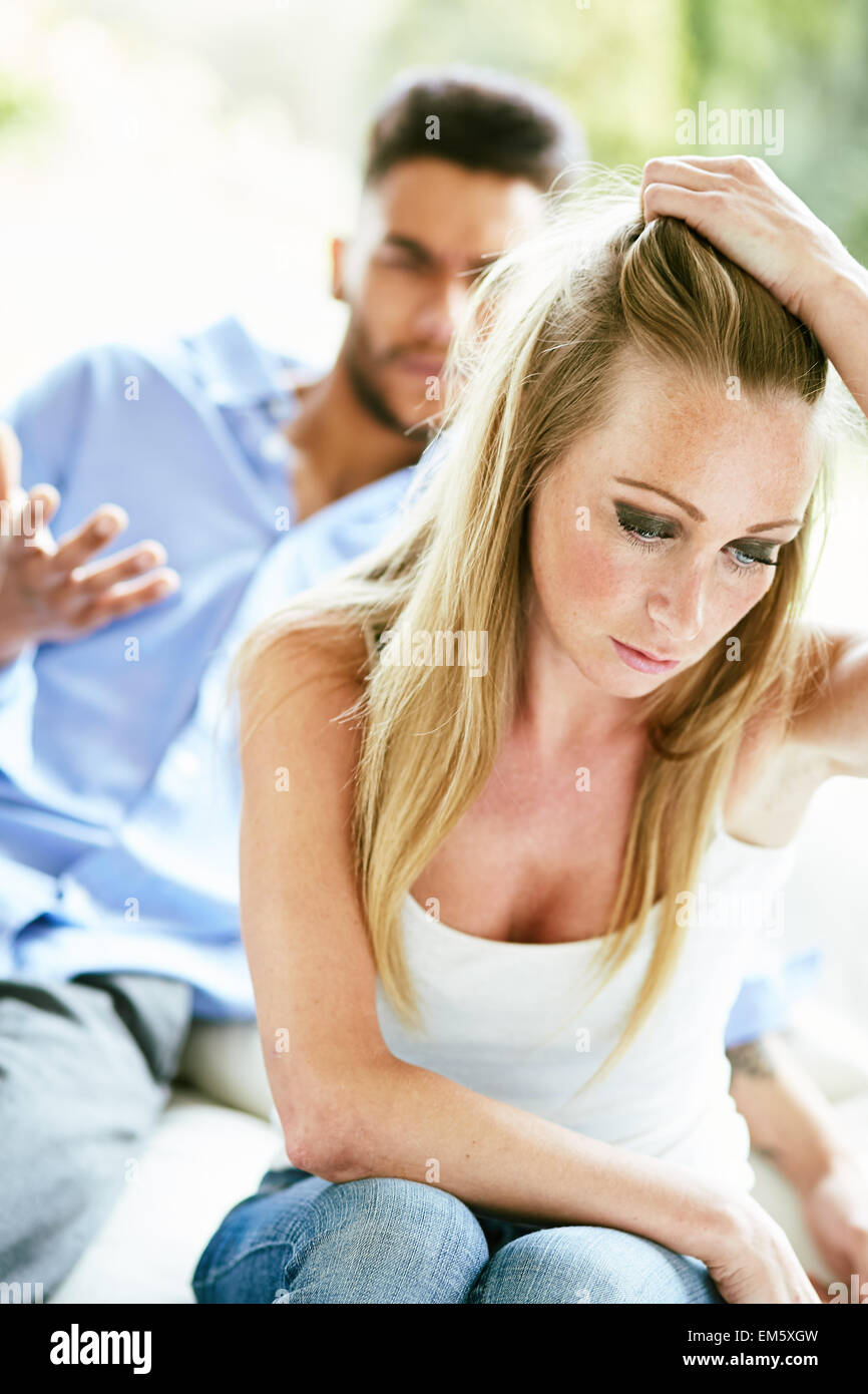Mujer harto de partner Imagen De Stock