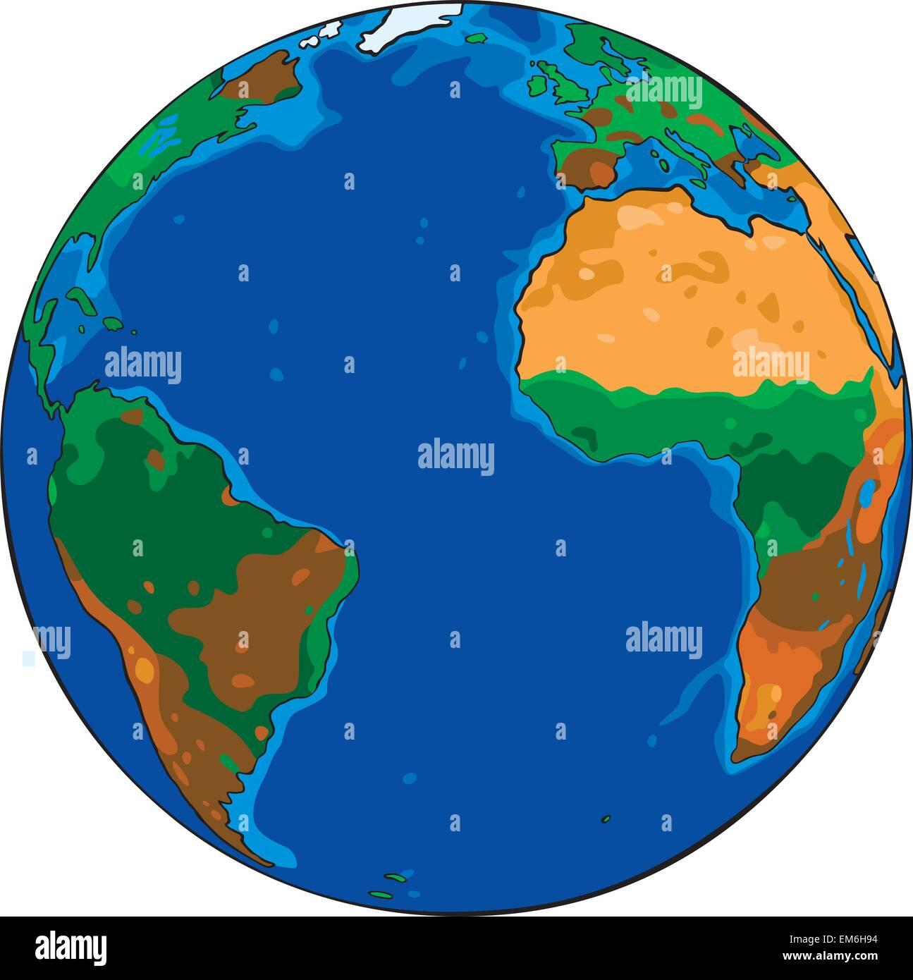 Caricatura Dibujo Vectorial Del Planeta Tierra Ilustración Del