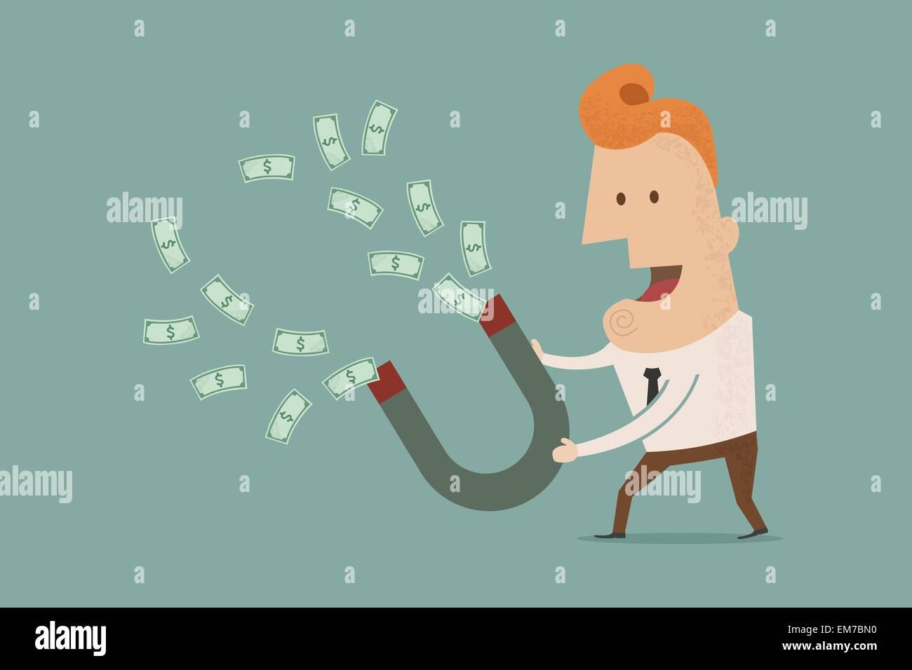 Empresario con imán con forma de herradura recolectando dinero , eps10 vecto Imagen De Stock