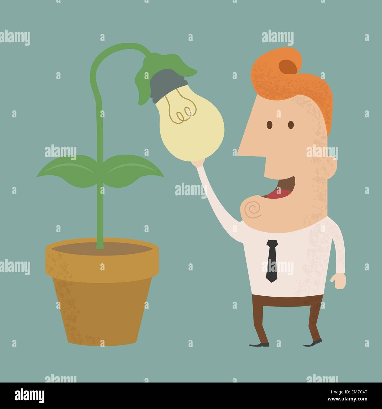 Hombre de negocios harvest de pensamiento , eps10 formato vectorial Imagen De Stock