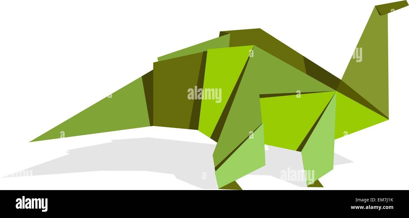 Colores vibrantes origami dinosaurio Ilustración del Vector