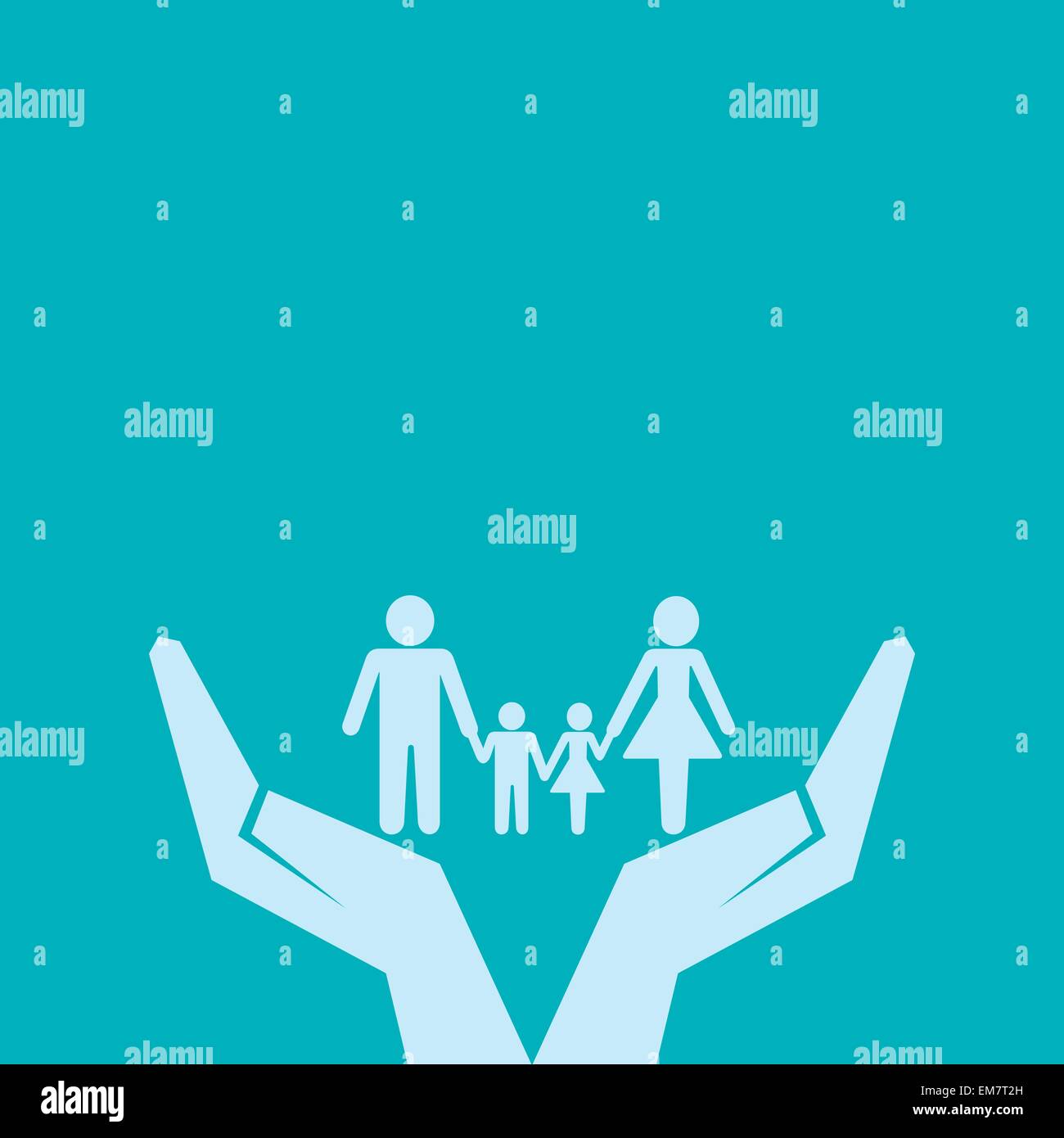 Fijar o guardar familia bajo el concepto de mano Ilustración del Vector