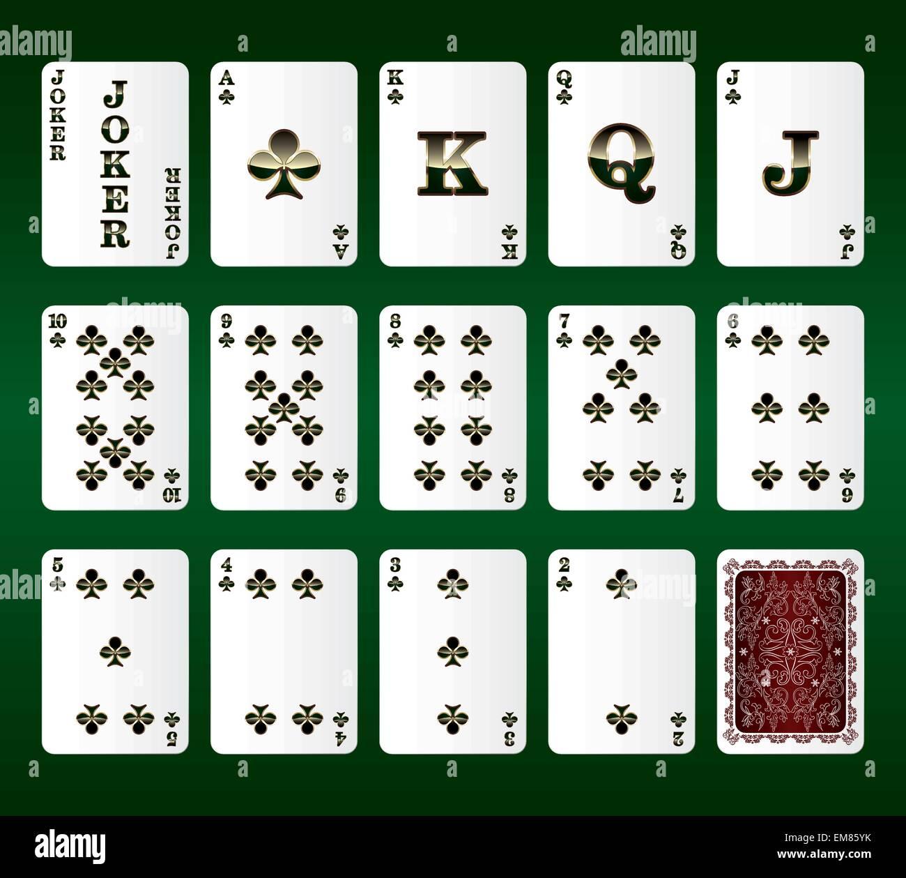Jugando a las cartas vectoriales. Todos los clubes Ilustración del Vector