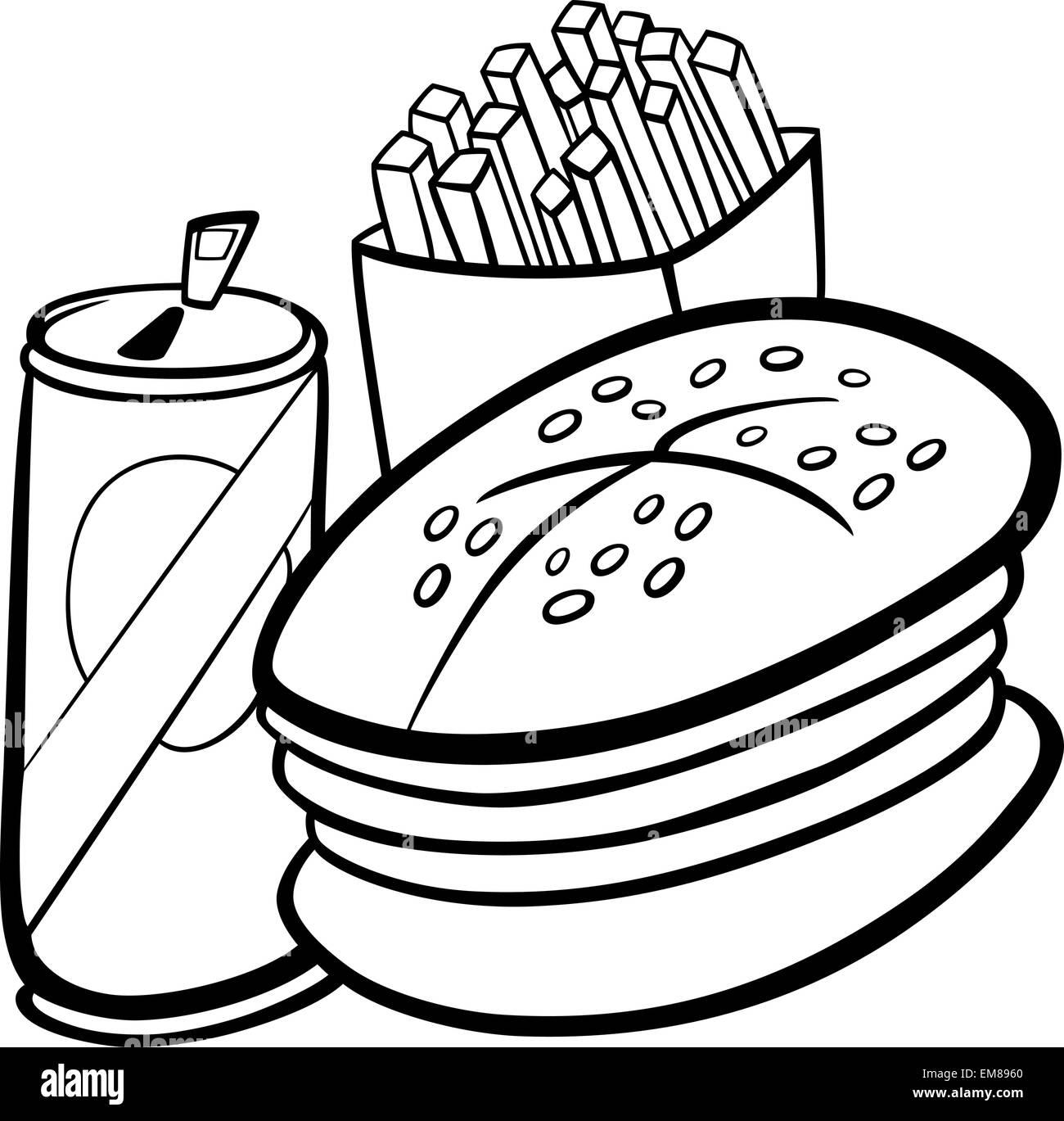 Comida Rápida Para El Libro De Colorear Dibujos Animados Ilustración