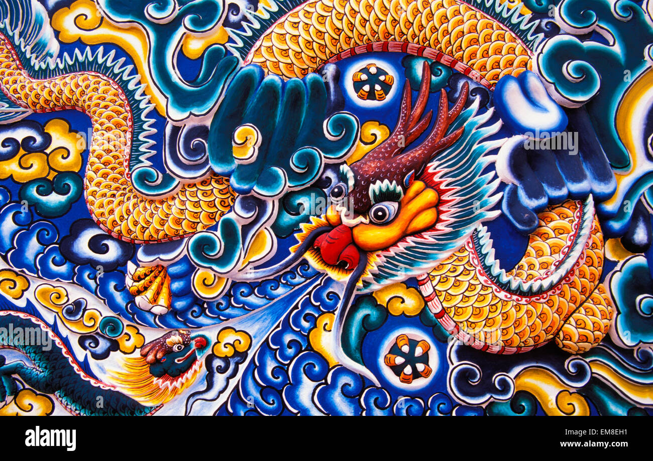 Tailandia, Ayuthaya, Bang Pa-In Palace, pintadas al estilo chino, tallas de madera. Foto de stock