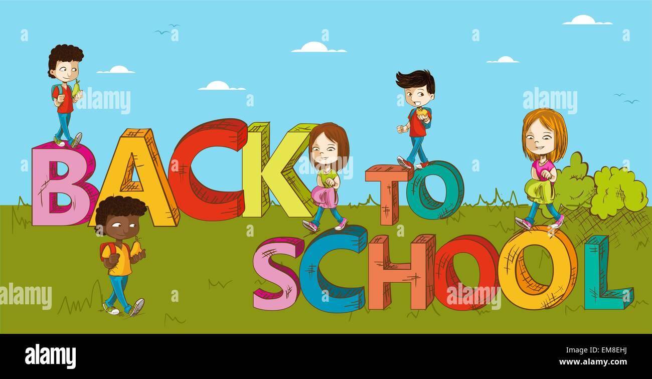 La Educación De Los Niños En Edad Escolar De Dibujos Animados