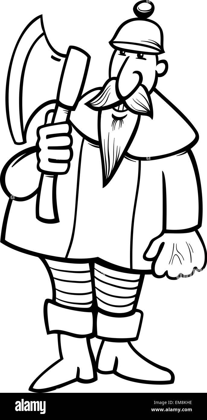 Caballero Con Hacha Página Para Colorear Dibujos Animados