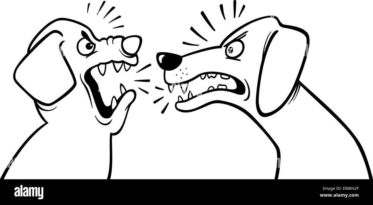 Página Para Colorear Perros Ladrando Enojado Ilustración Del