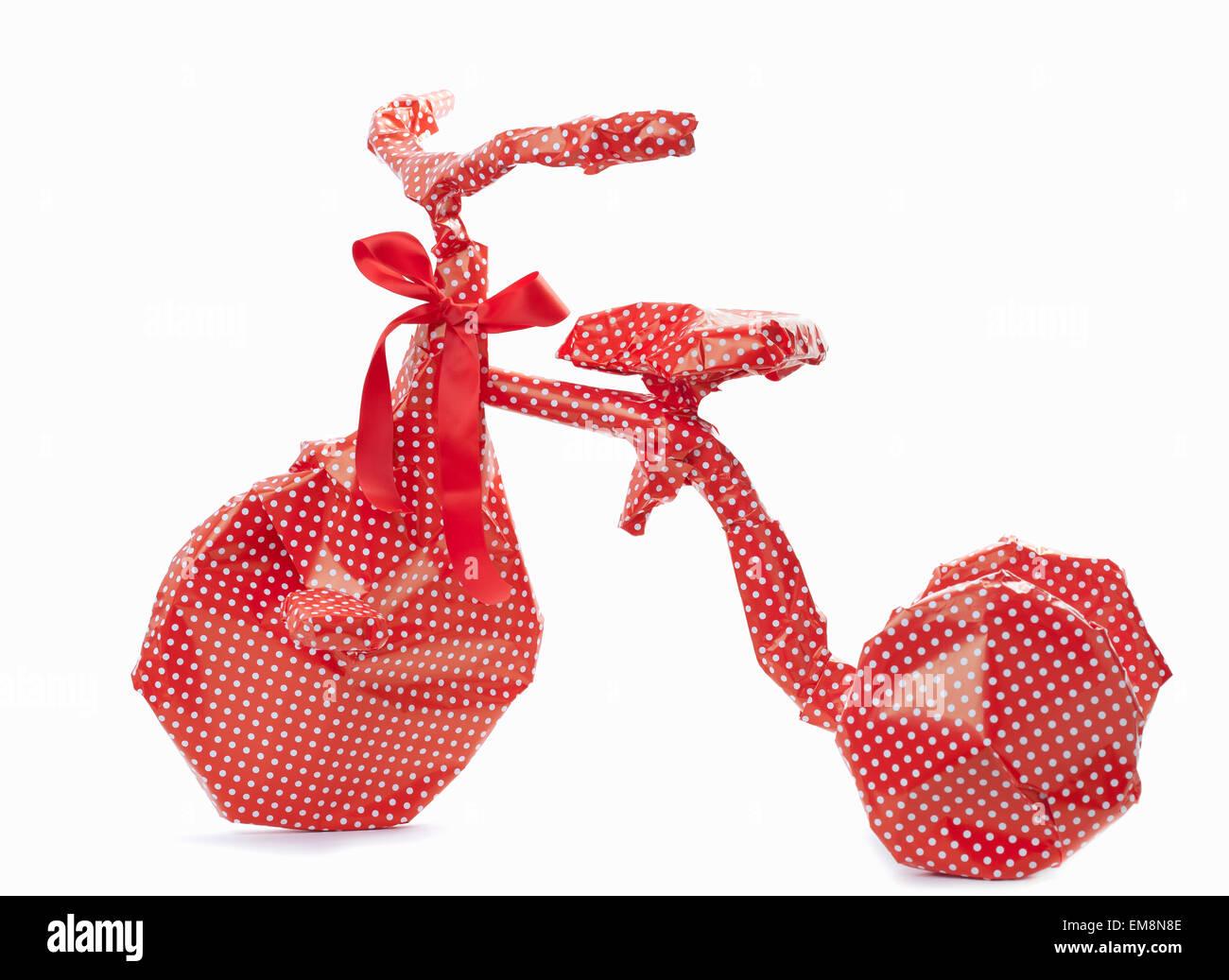 Envoltorio de regalo bicicleta Foto de stock
