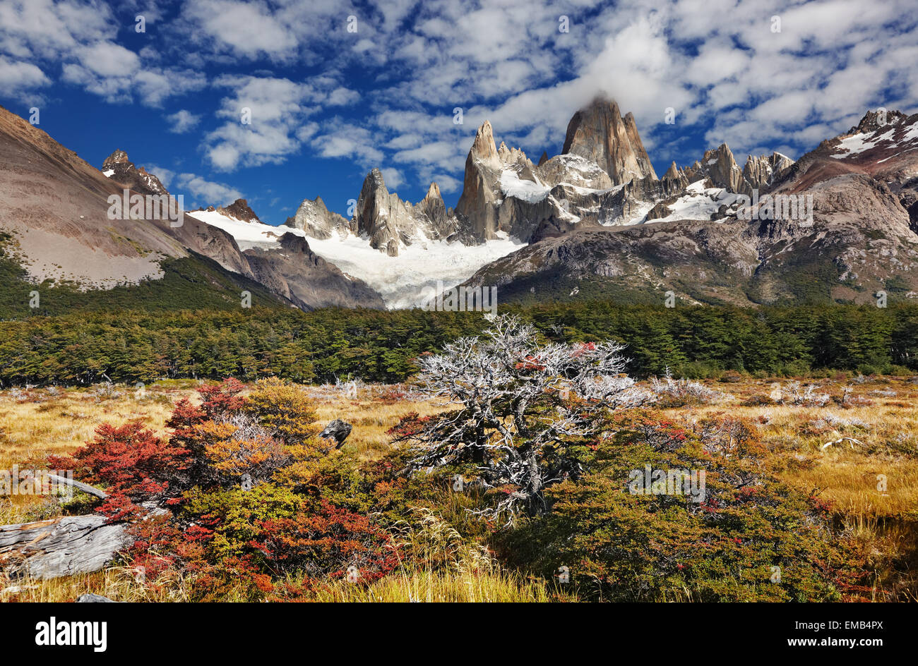 Monte Fitz Roy, el Parque Nacional Los Glaciares, Patagonia, Argentina Imagen De Stock