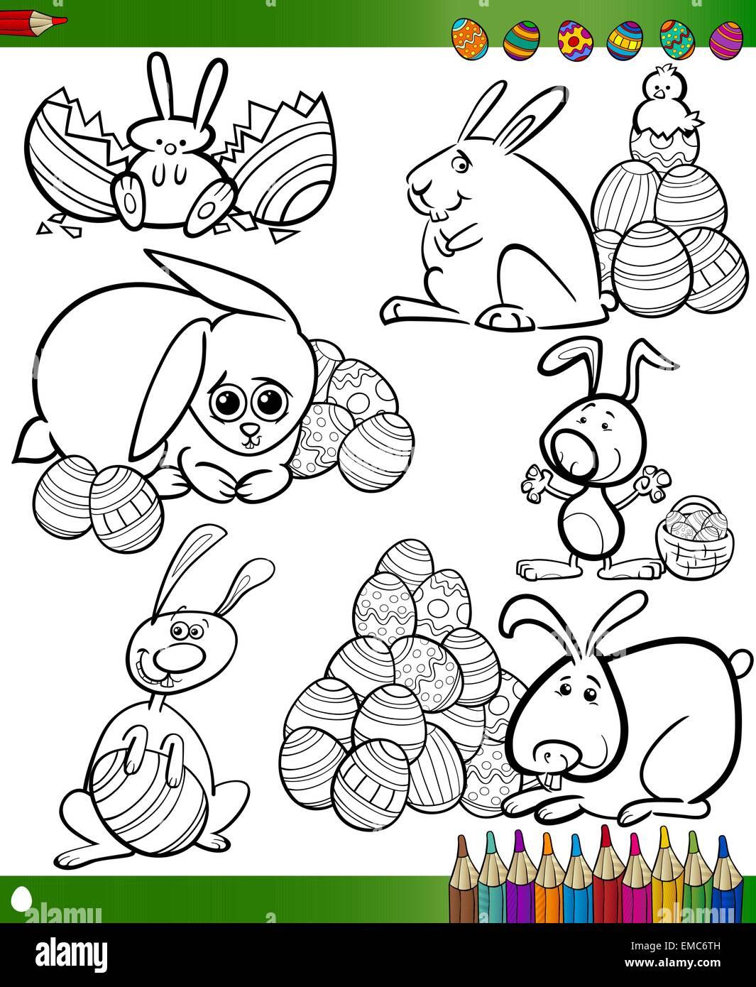 Libro para colorear dibujos animados para la pascua Ilustración del ...