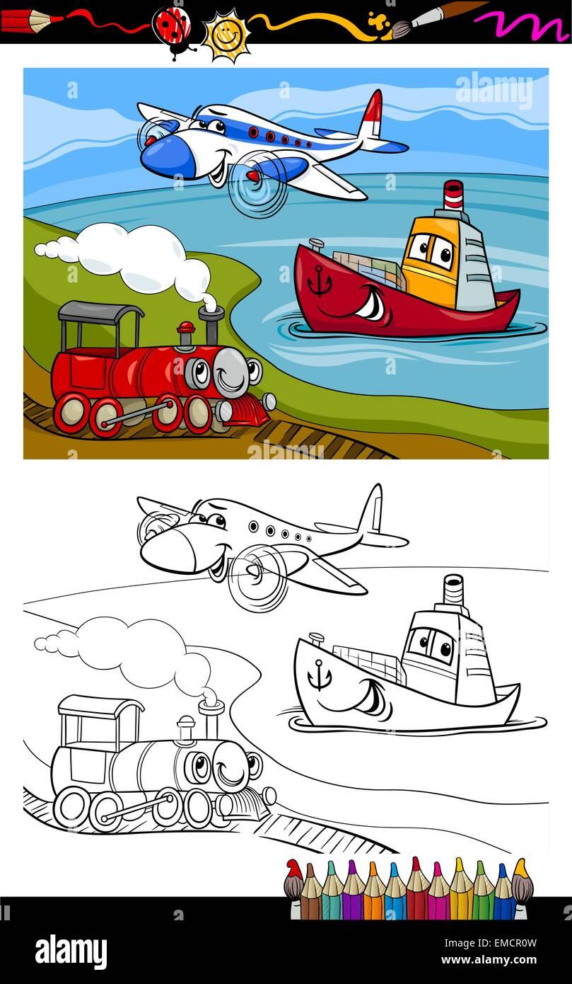 Cartoon avión tren barco página para colorear Ilustración del Vector ...