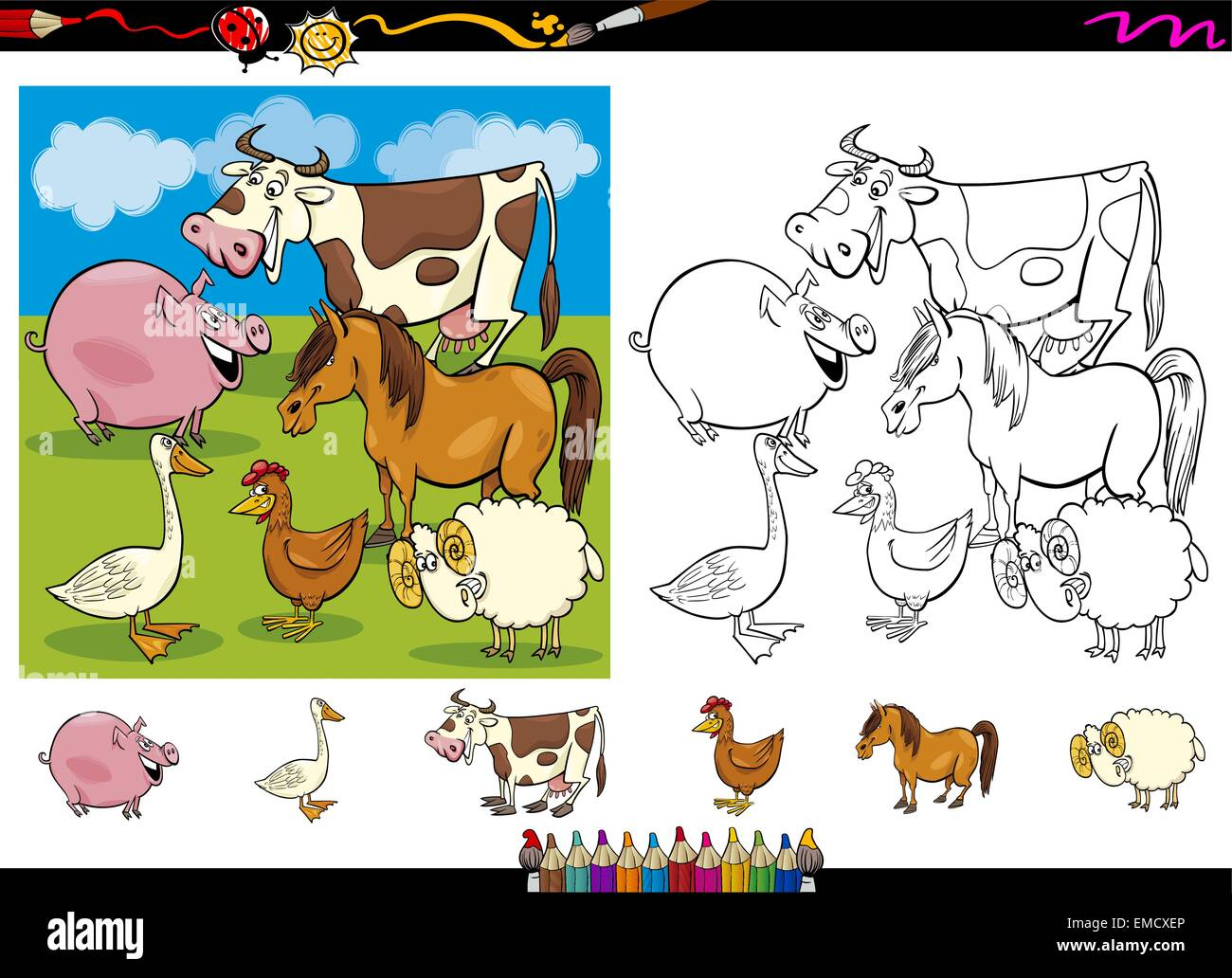 Cartoon Illustration Funny Comic Rooster Imágenes De Stock & Cartoon ...