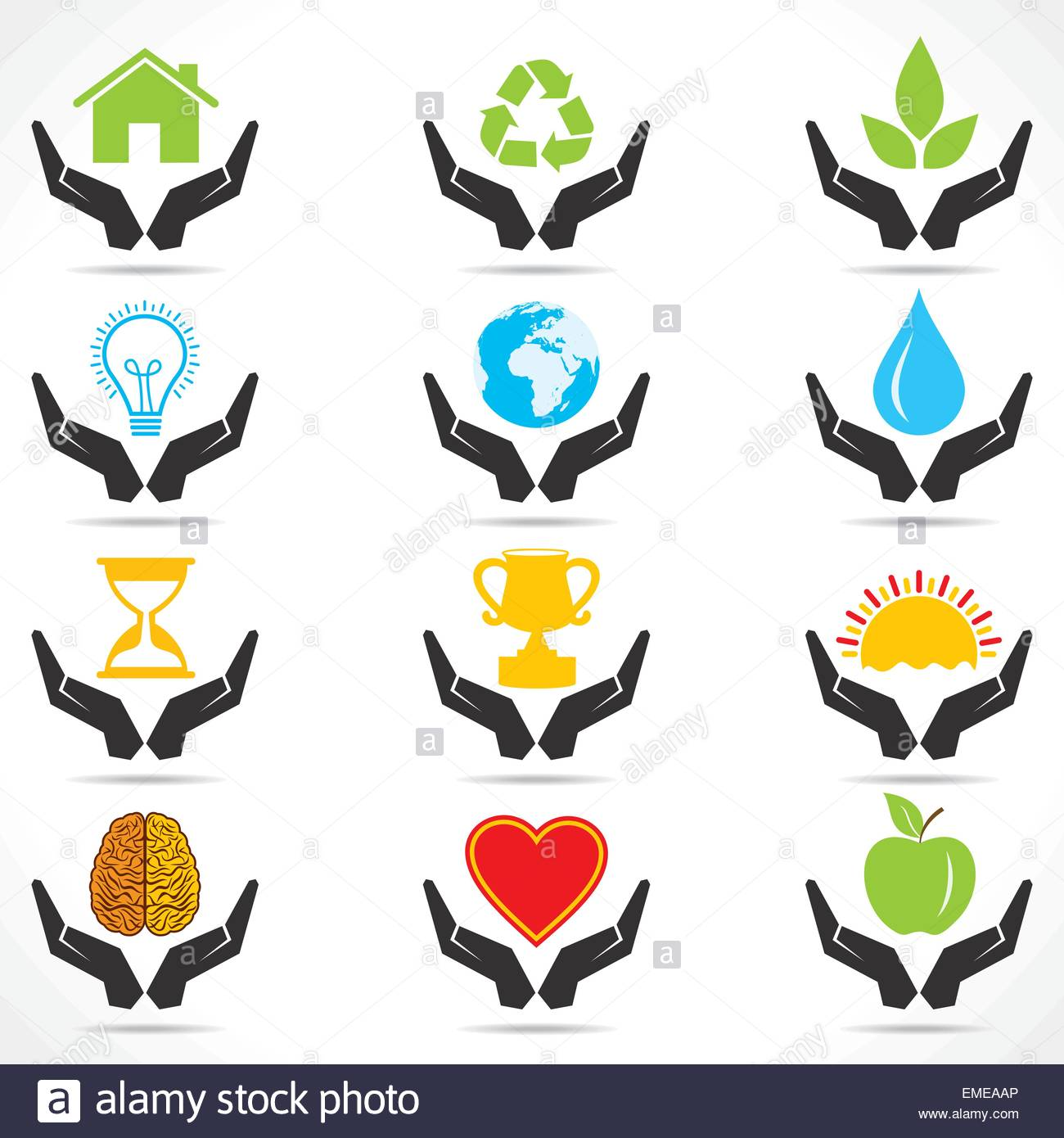 Icono de mano conceptual con diferentes iconos de objeto Imagen De Stock