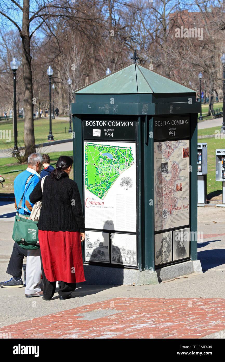 Jardín común de Boston en el Freedom Trail de Boston en Boston, Massachusetts. Imagen De Stock