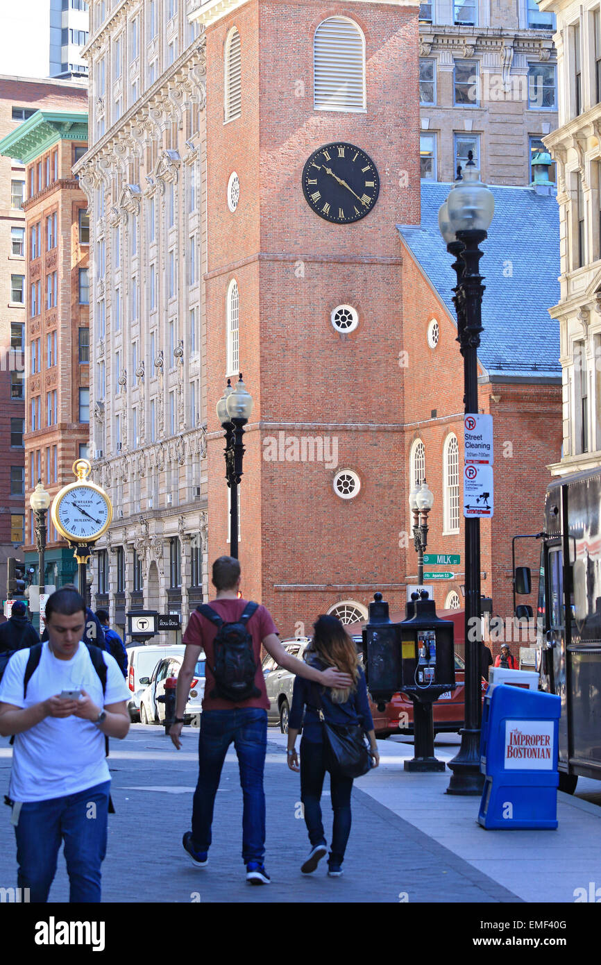 Boston Tea Party empezó a este histórico Freedom Trail de Boston. El Old South Meeting House Museum y Imagen De Stock