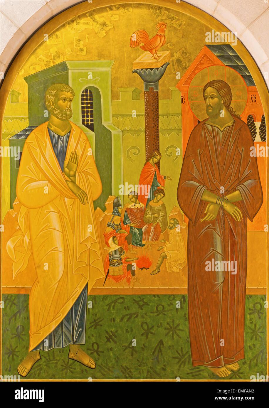 Jerusalén, Israel - Marzo 3, 2015: El Negare Pedro a Jesús. Icono de la Iglesia de San Pedro en Gallicantu. Imagen De Stock