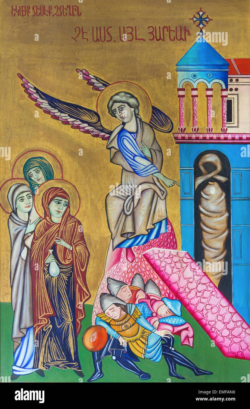 Jerusalén, Israel - Marzo 3, 2015: El icono de la resurrección de la Iglesia del Santo Sepulcro por artista Imagen De Stock