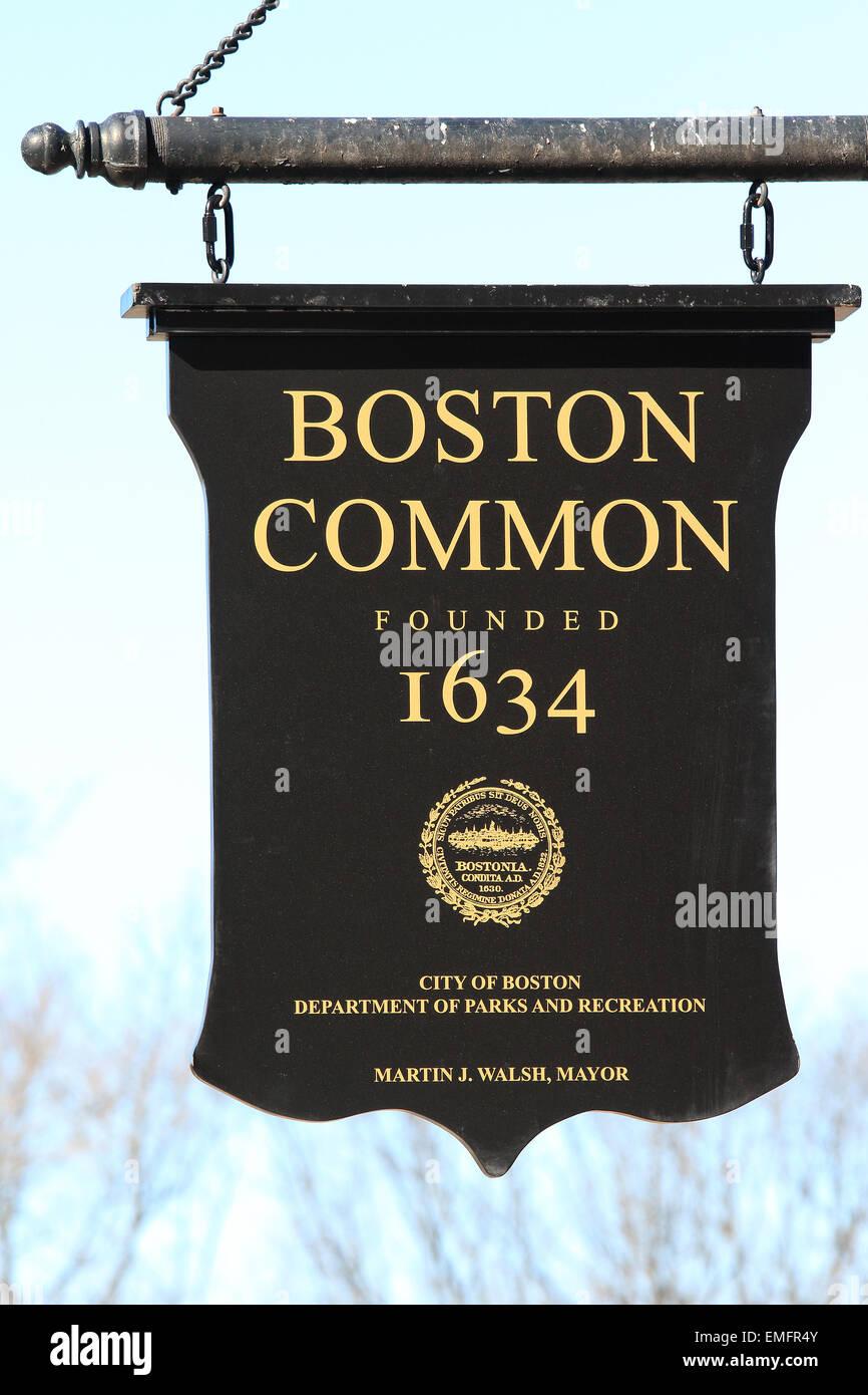 Boston Common signo emblemático en el Freedom Trail de Boston. Imagen De Stock